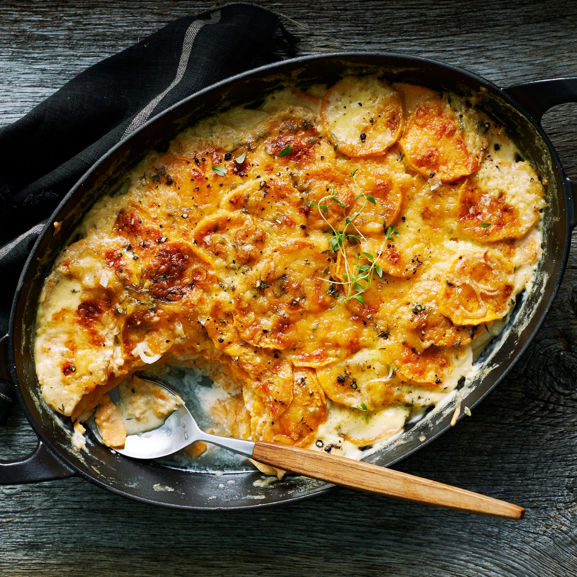 Sweet Potato and Gouda Gratin