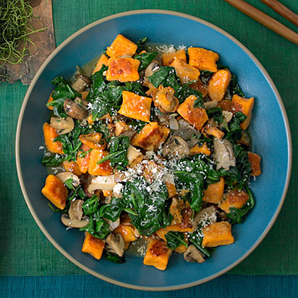 Sweet Potato Gnocchi with Mushrooms and Spinach