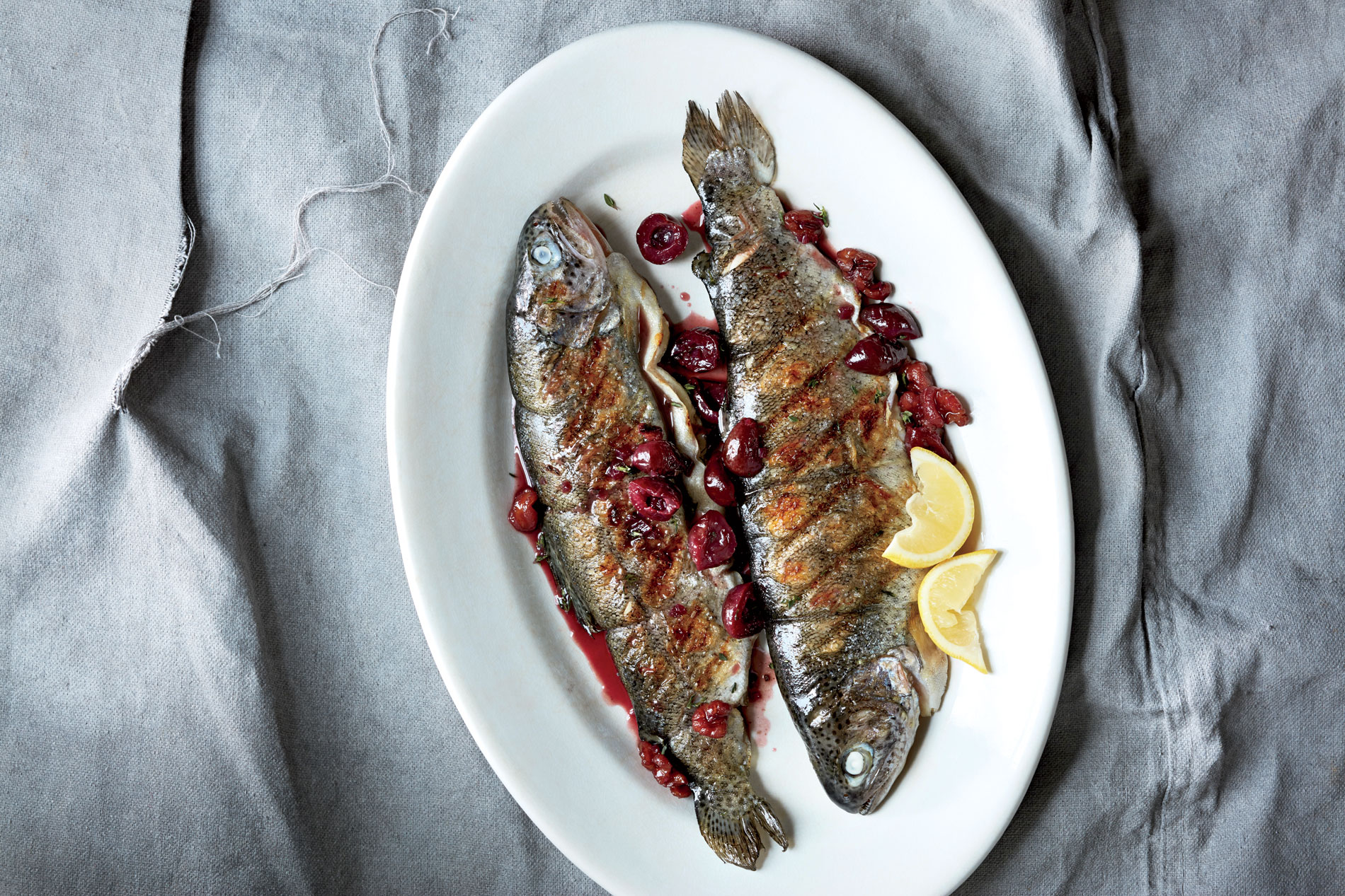 ck-Grilled Trout with Cherry Compote Image