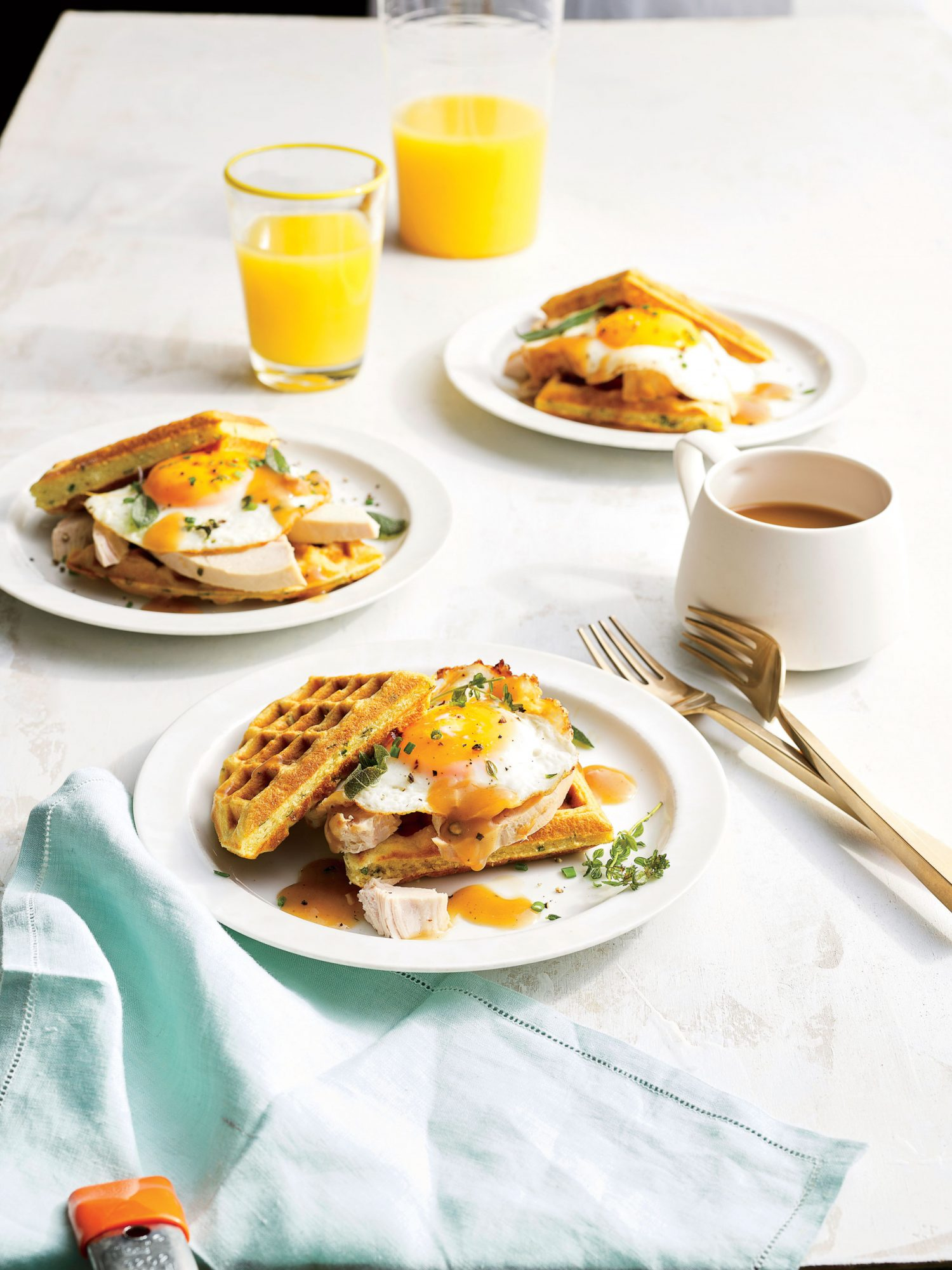 Turkey-and-Gravy Waffle Sandwich with Sunny-Side-Up Egg