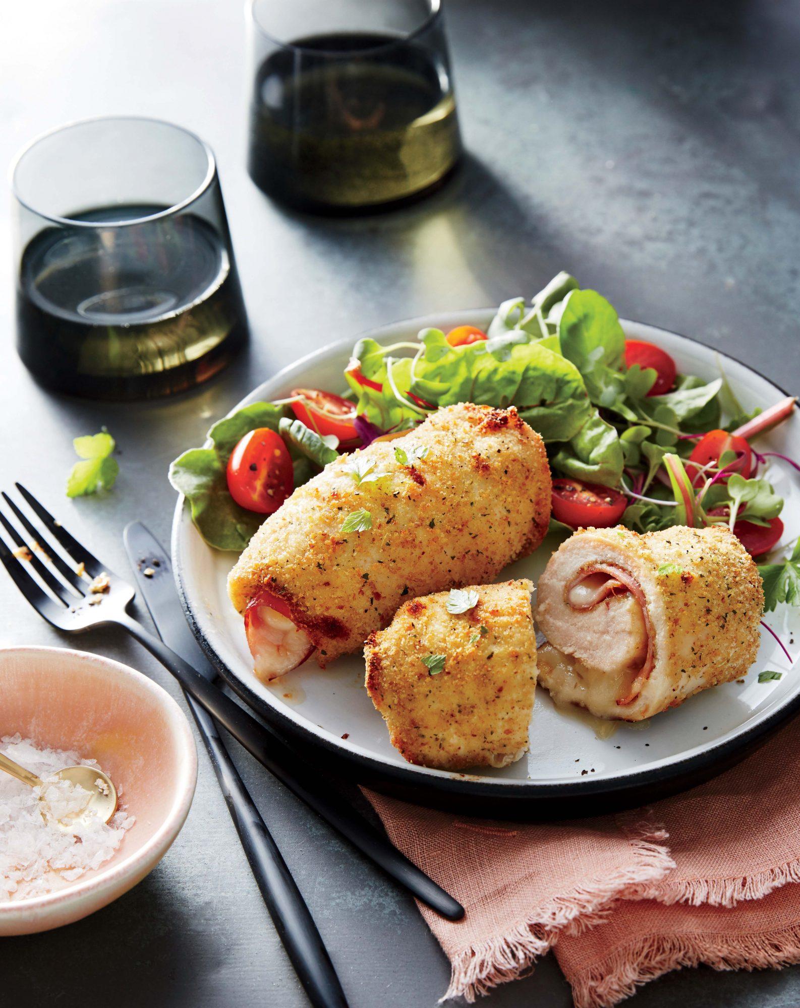Crispy Chicken, Ham, and Swiss Roll-Ups