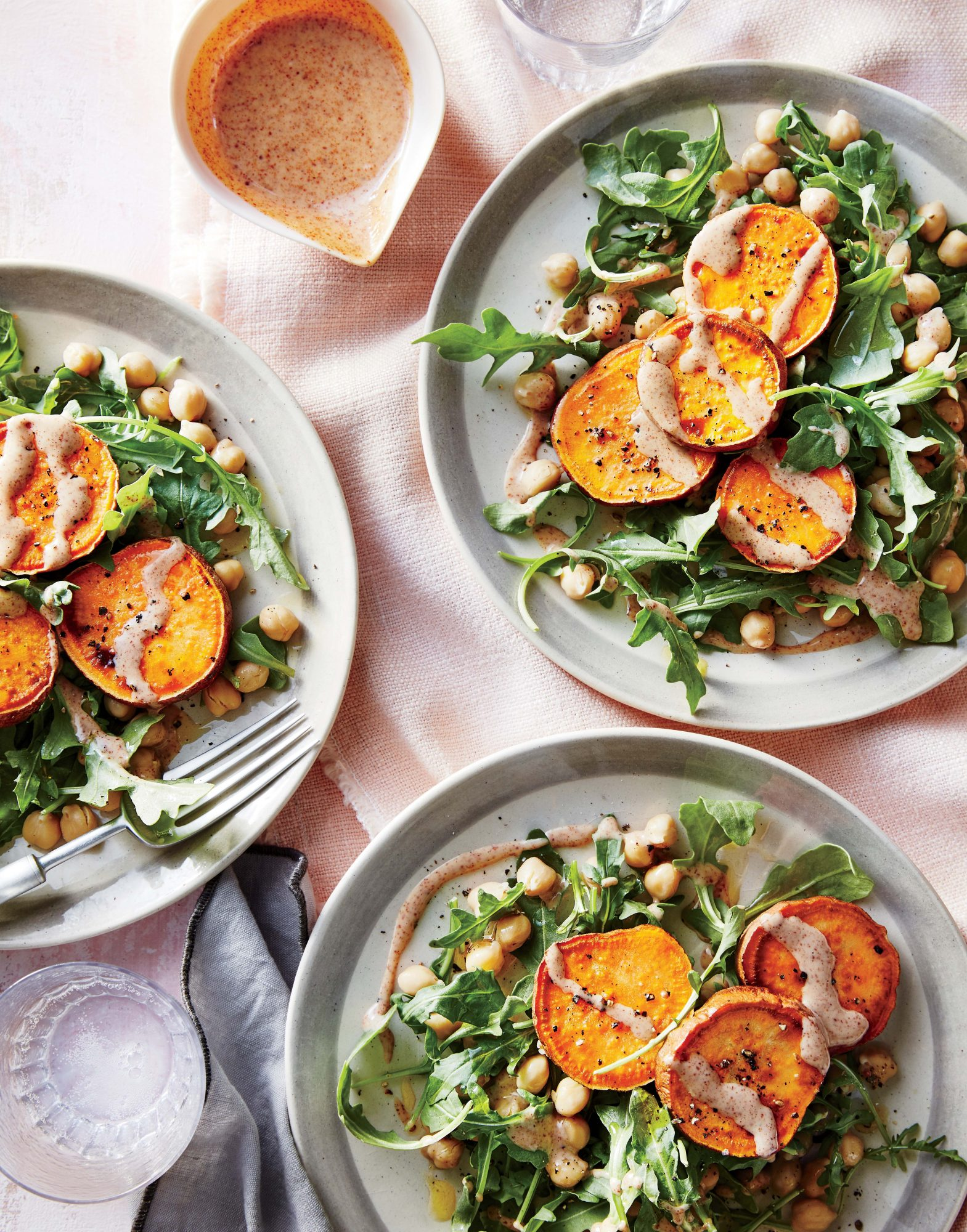 Sweet Potato Medallions with Almond Sauce and Chickpea Salad