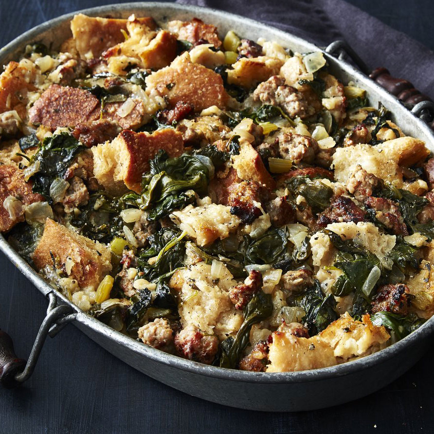 Crisp Top Sourdough Stuffing with Sausage and Greens