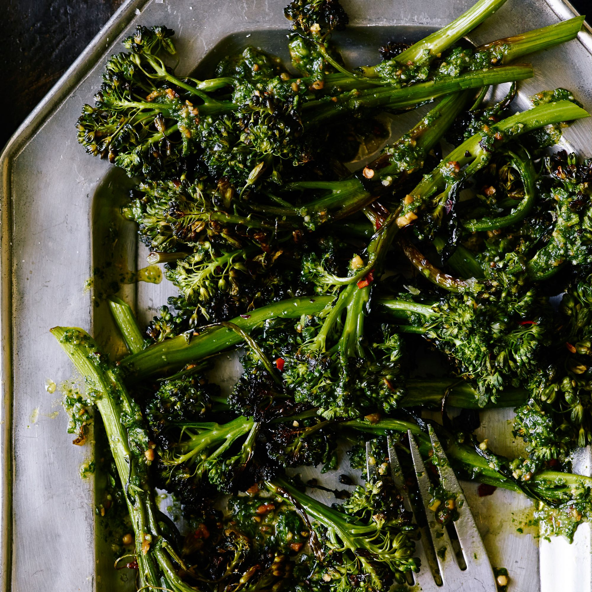 Roasted Broccolini with Almond Parsley Pesto