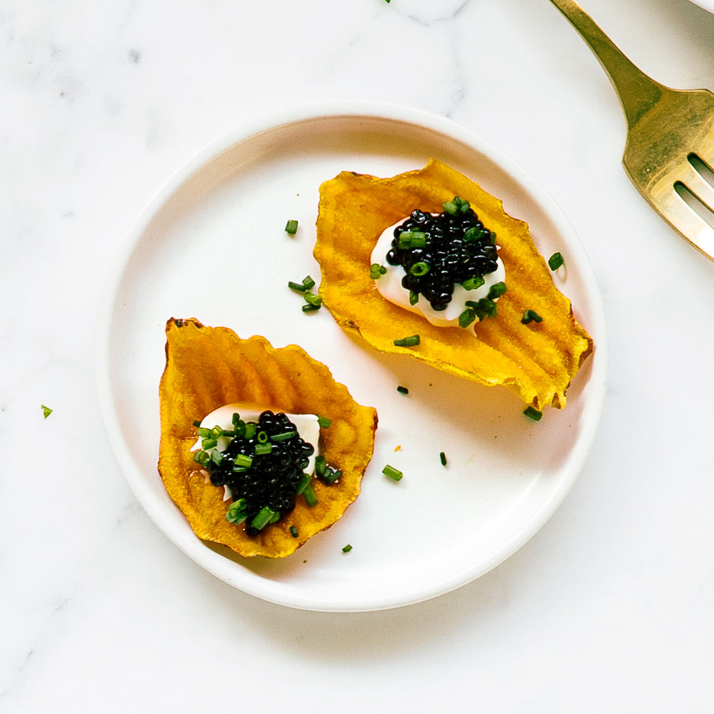 Sweet-Potato Chips with Crème Fraîche and Caviar