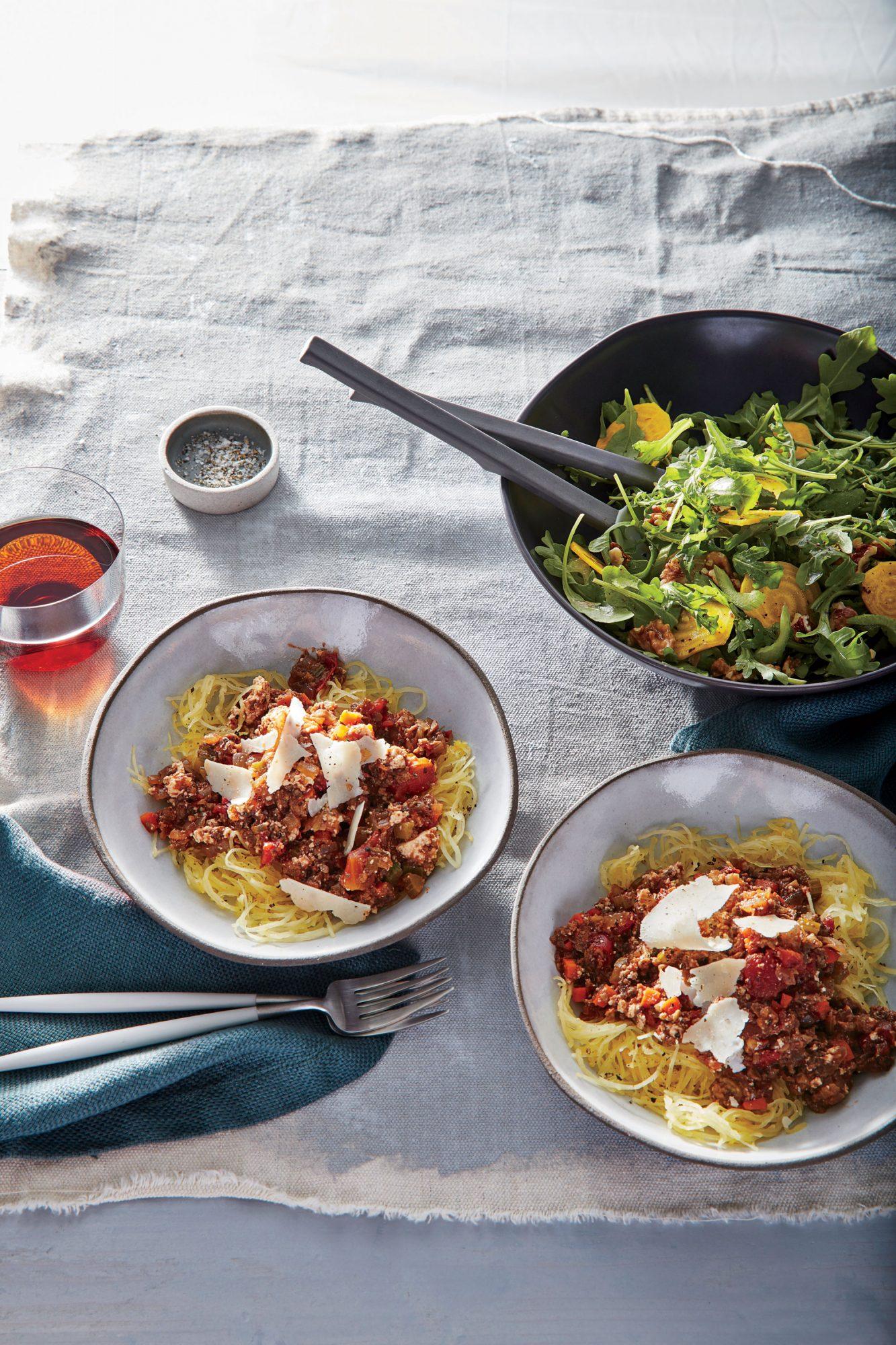 Mushroom Bolognese over Spaghetti Squash