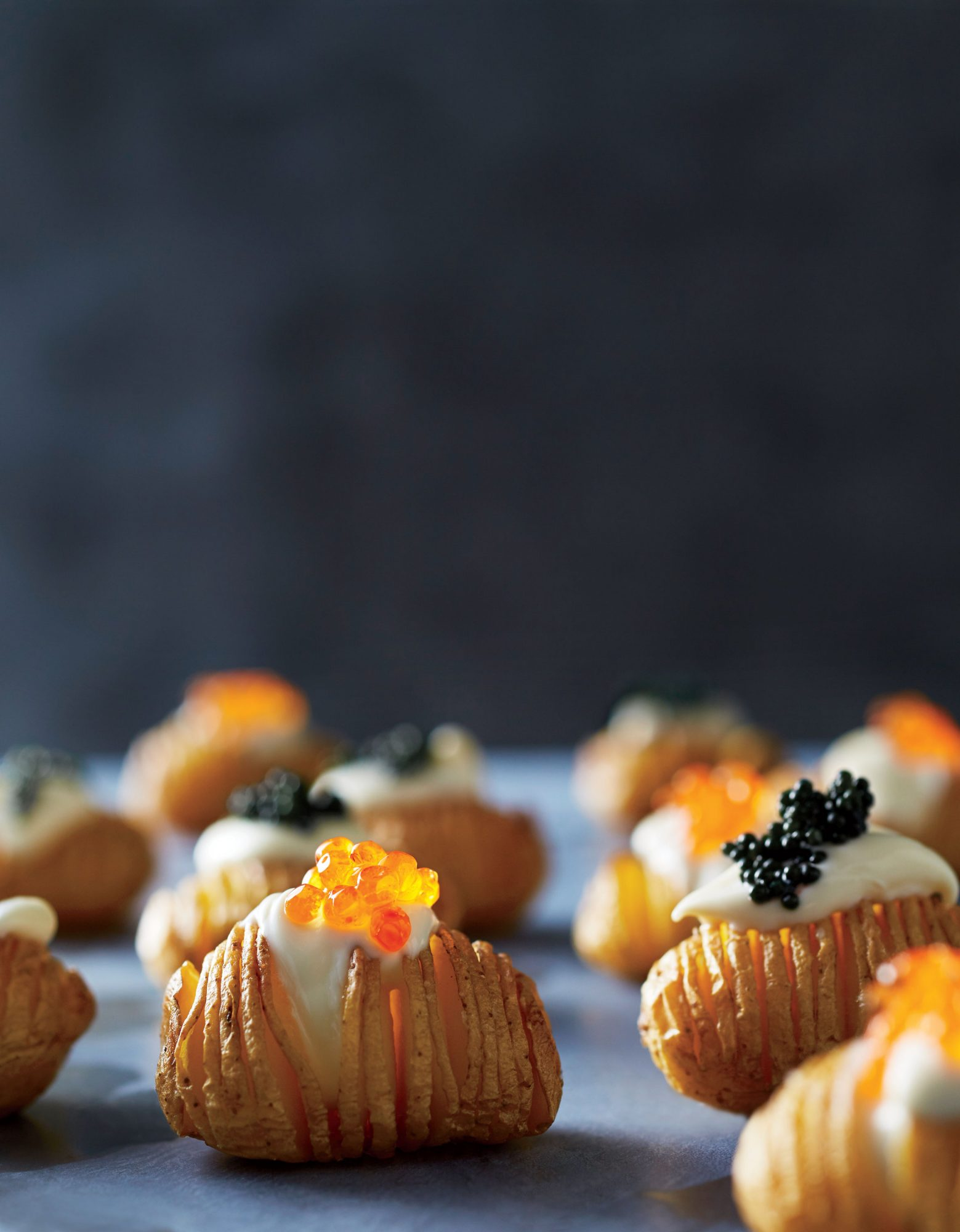 Hasseltots with Crème Fraîche and Caviar