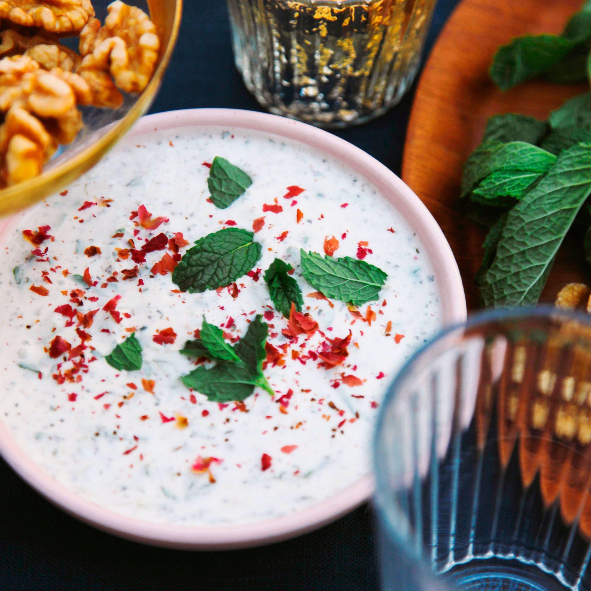 Cucumber Yogurt with Mint and Rose