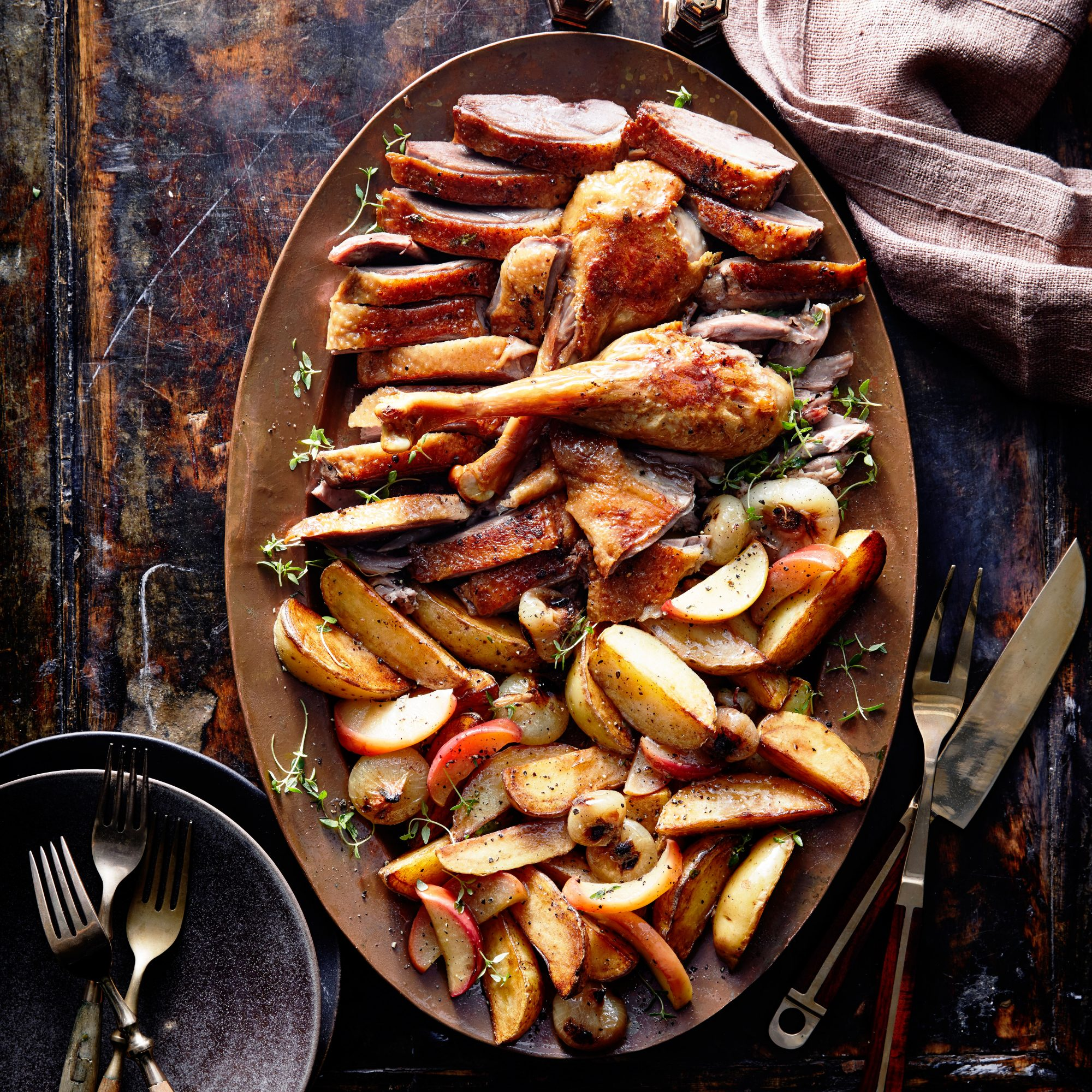 Roast Goose with Potatoes, Onions, and Apple