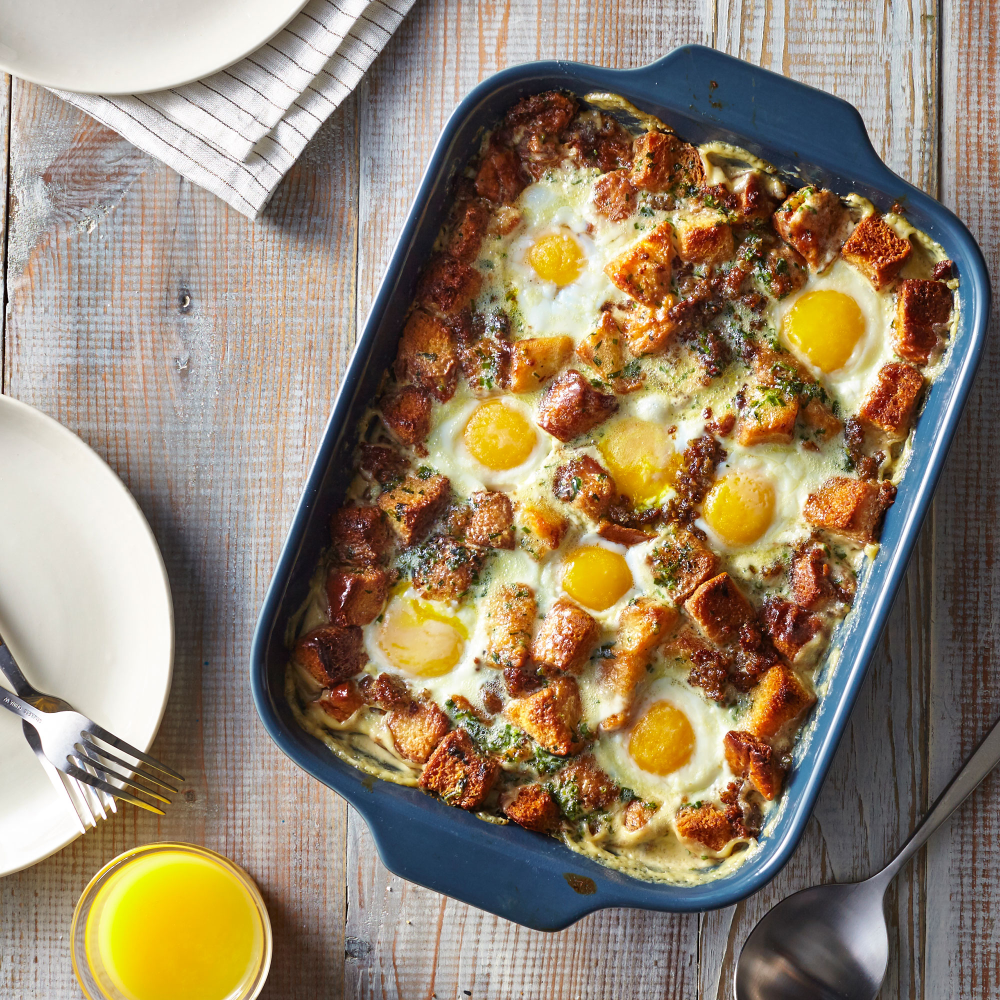 egg bake breakfast brioche christmas recipes creamy brunch food casserole bed easy recipe casseroles thanksgiving myrecipes styling tips morning occasions