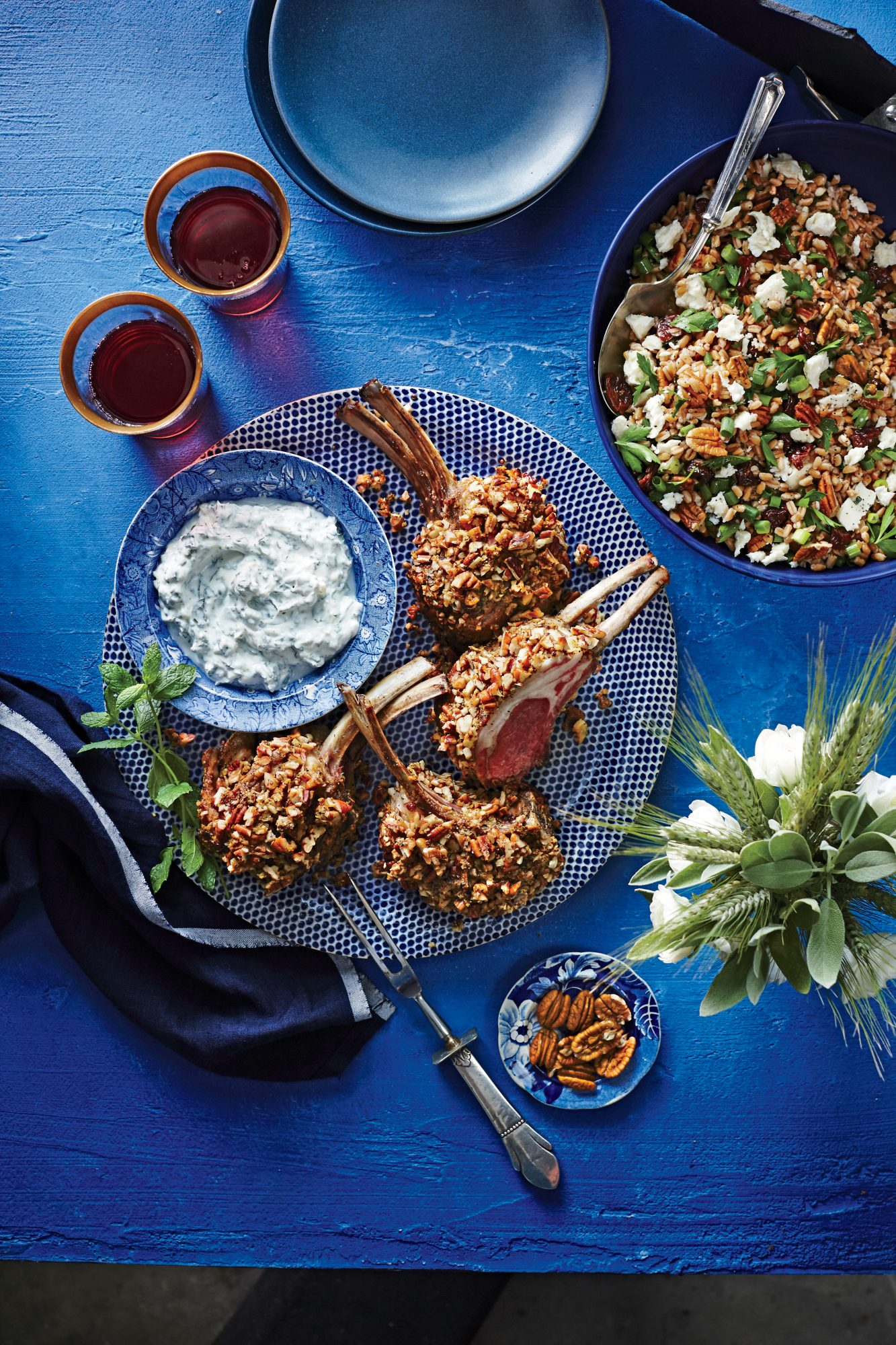Pecan-Crusted Rack of Lamb with Mint Dipping Sauce