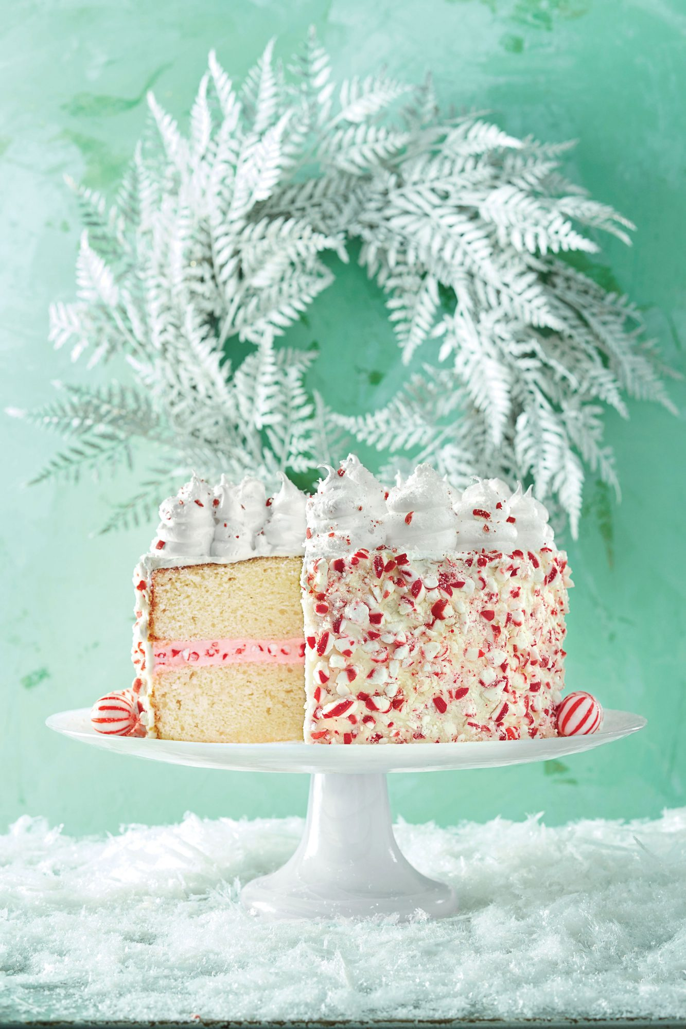 peppermint cake with seven minute frosting image - Christmas Dessert Decorations
