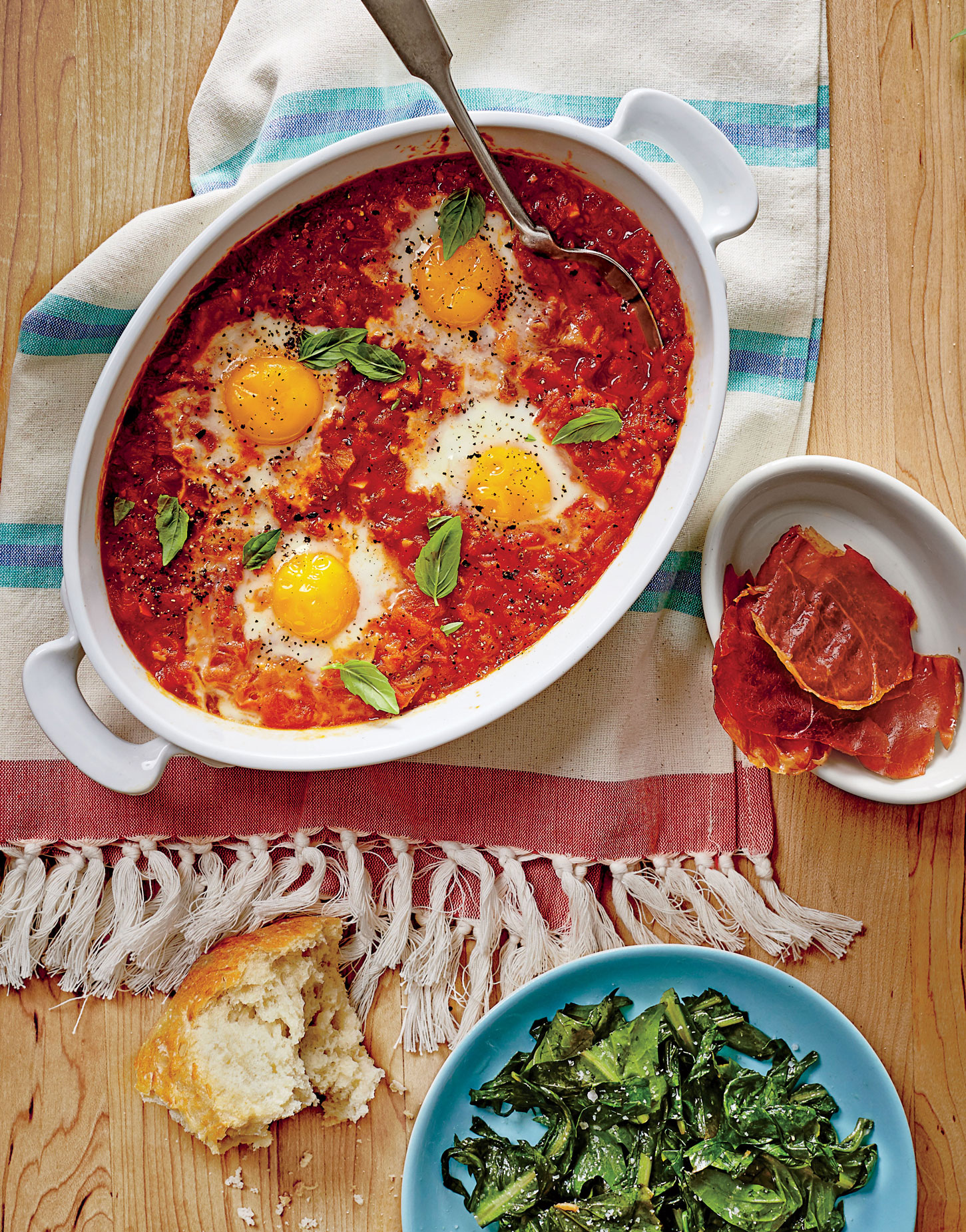 Stewed Tomato Shirred Eggs with Ham Chips image