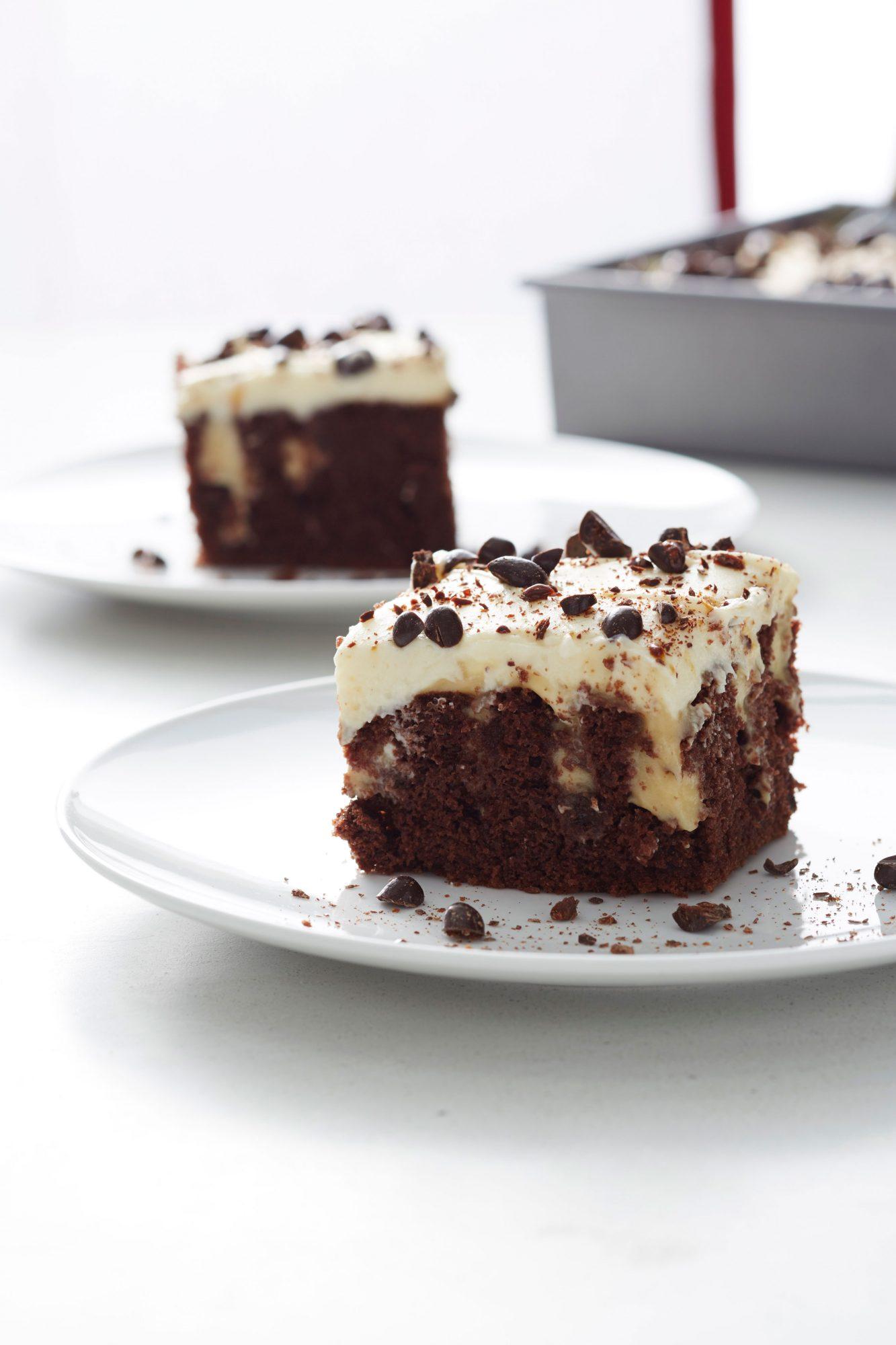 Chocolate Tiramisu Poke Cake