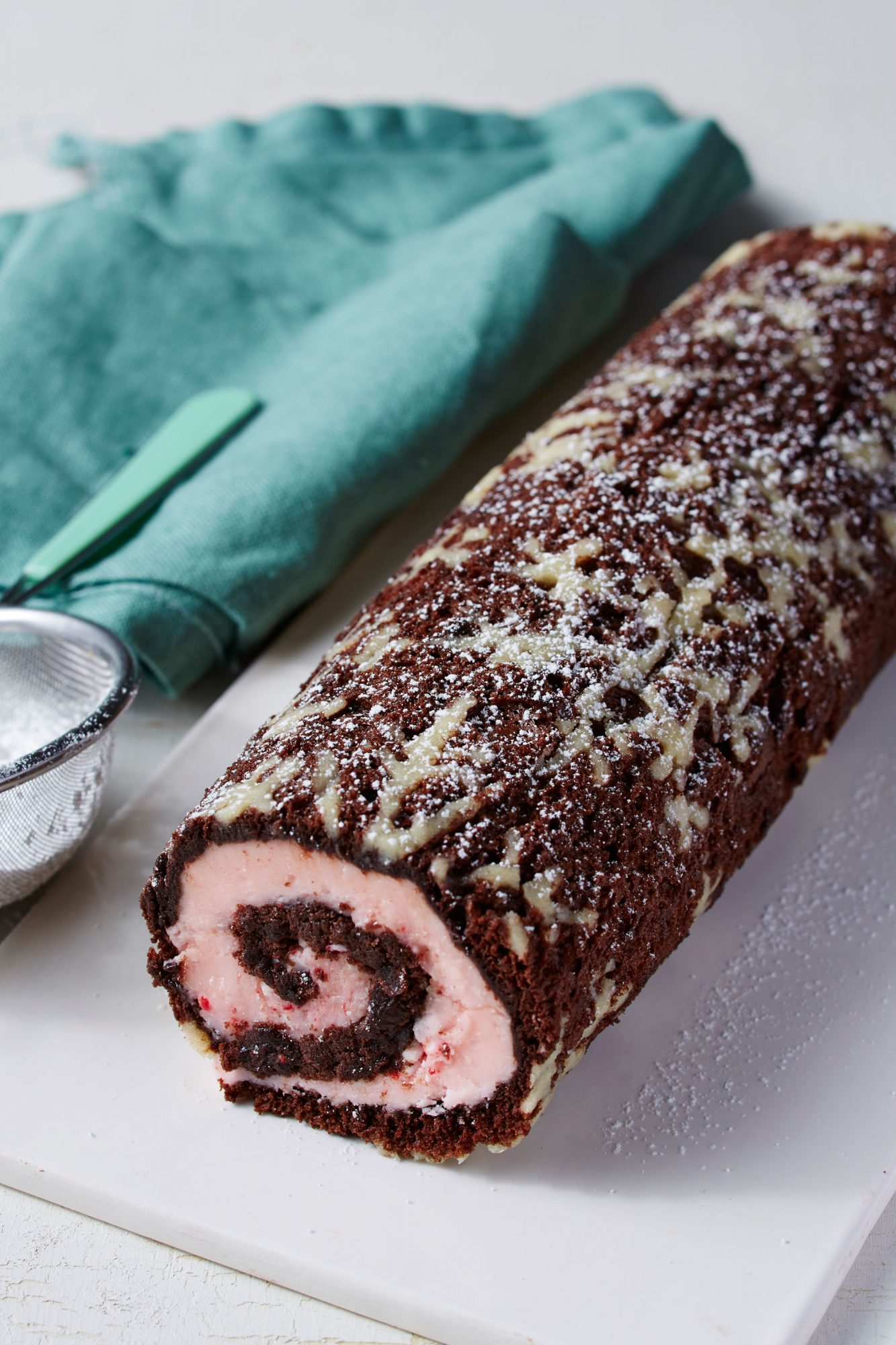 Chocolate and Peppermint Snowflake Roulade