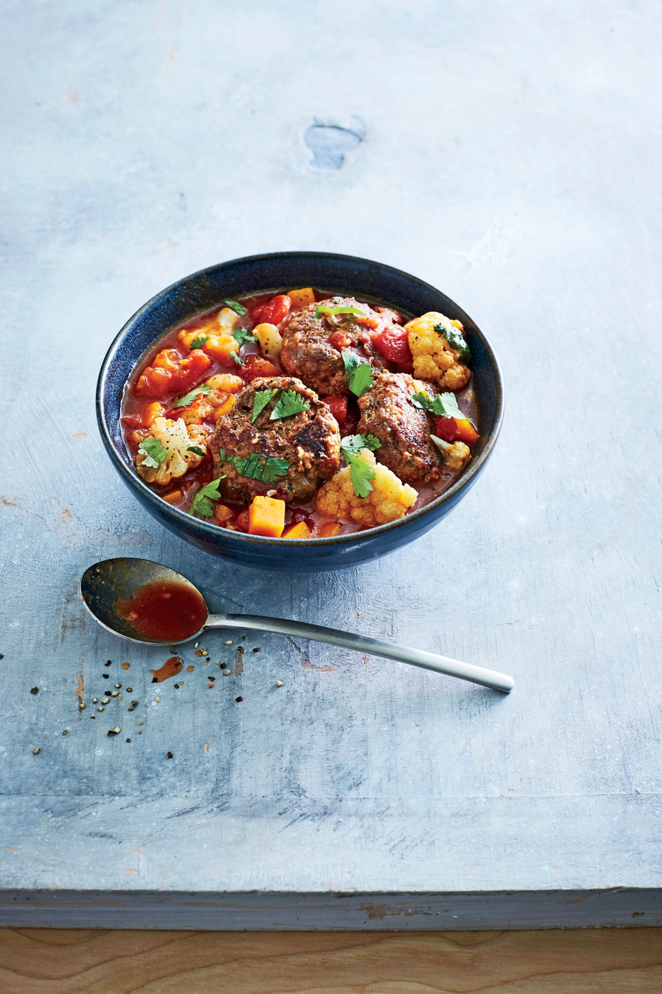 Spiced Meatball, Butternut, and Tomato Stew image