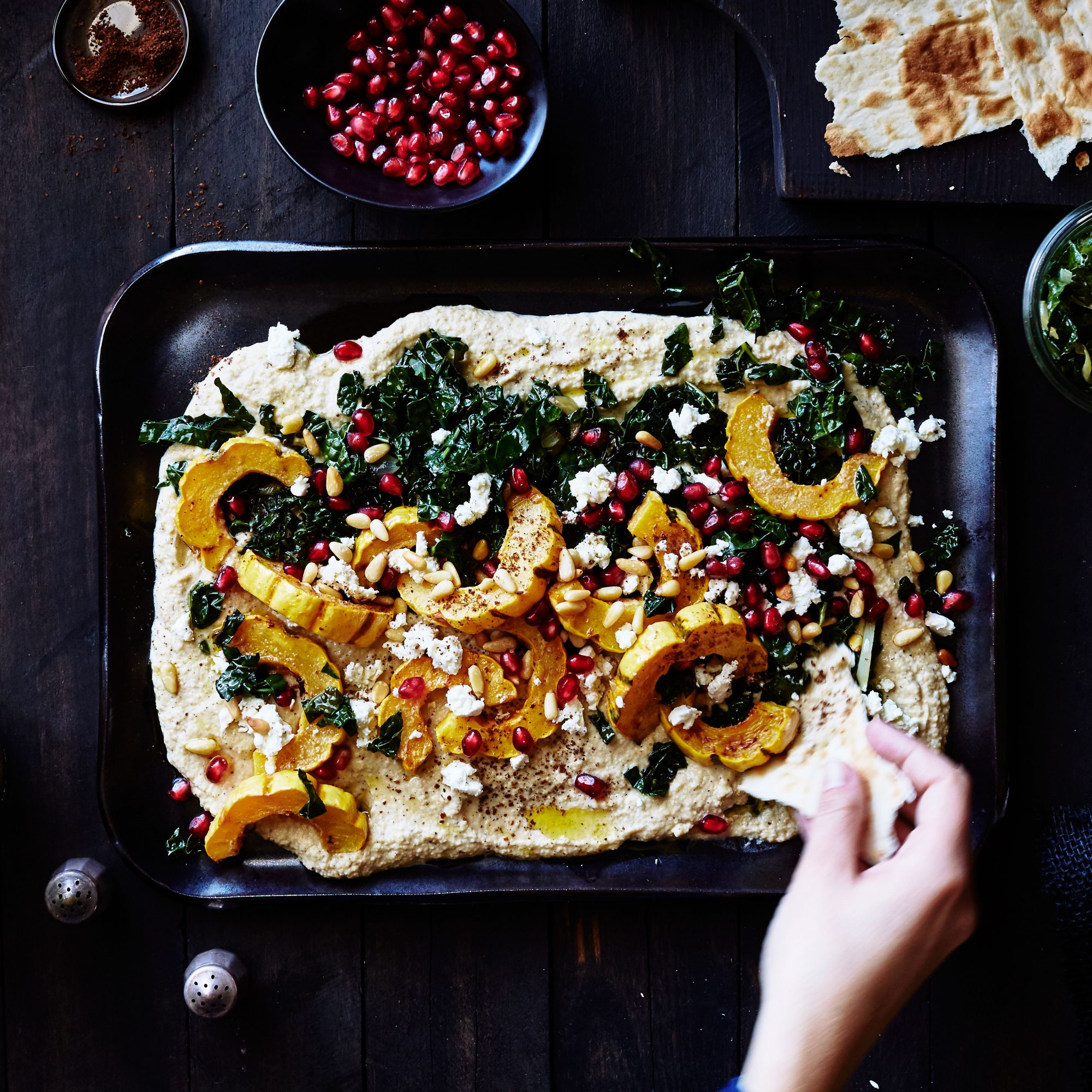 Sumac Hummus with Kale Ribbons and Roasted Delicata Squash
