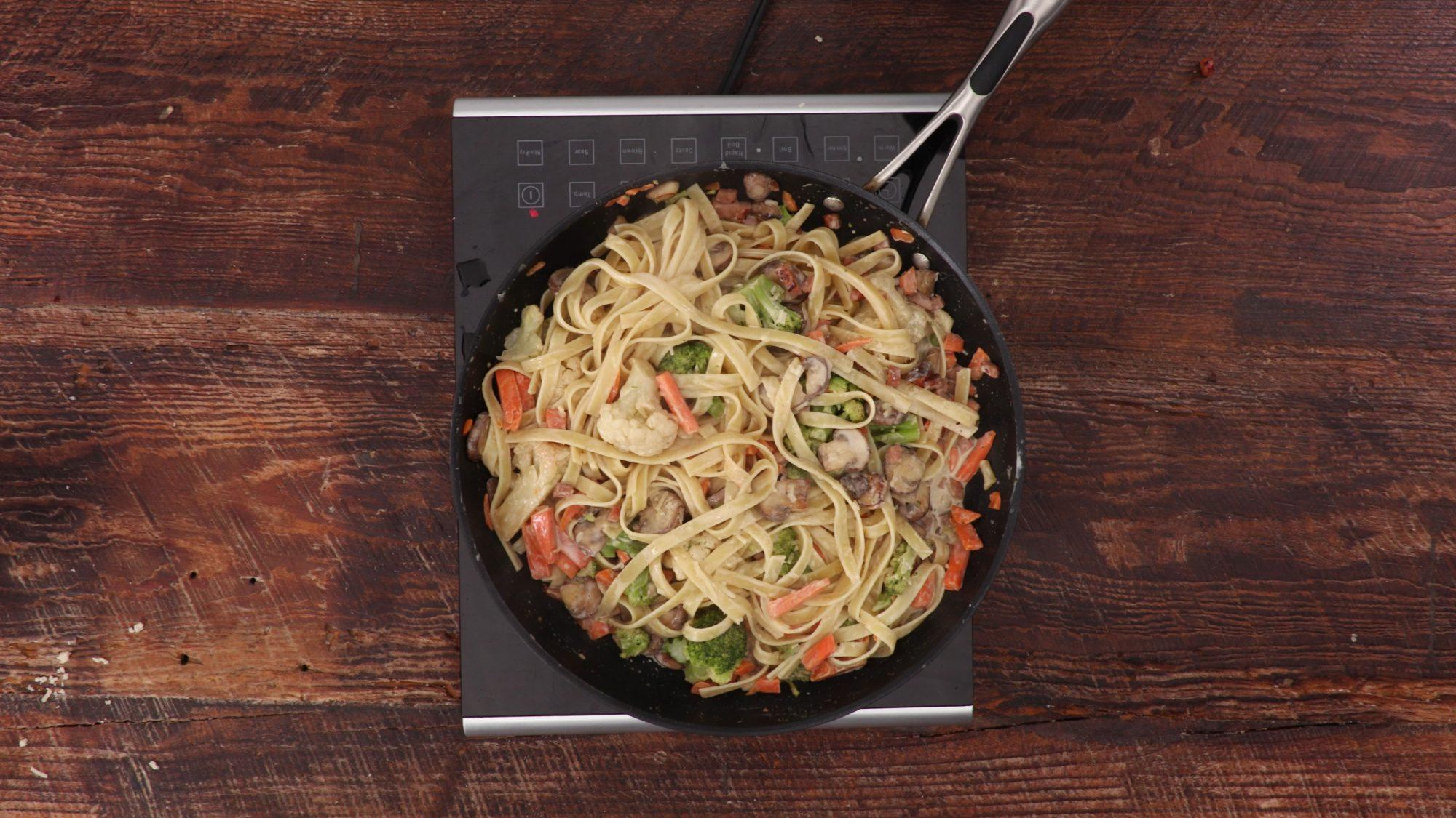 Pasta Primavera with Ham and Mushrooms image