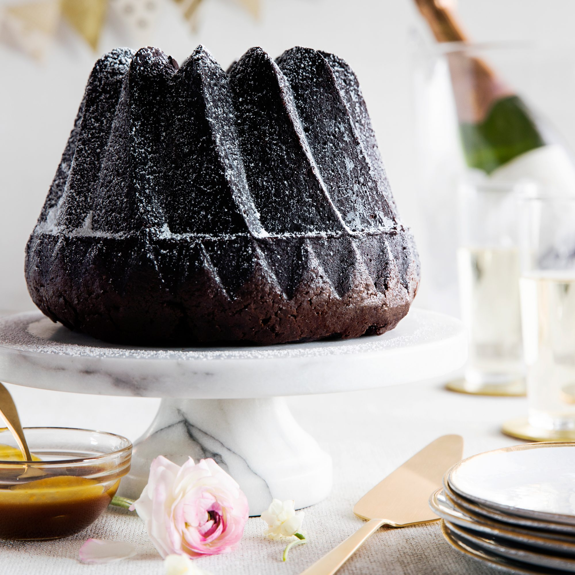 Dark Chocolate Bundt Cake with Whiskey Caramel Sauce