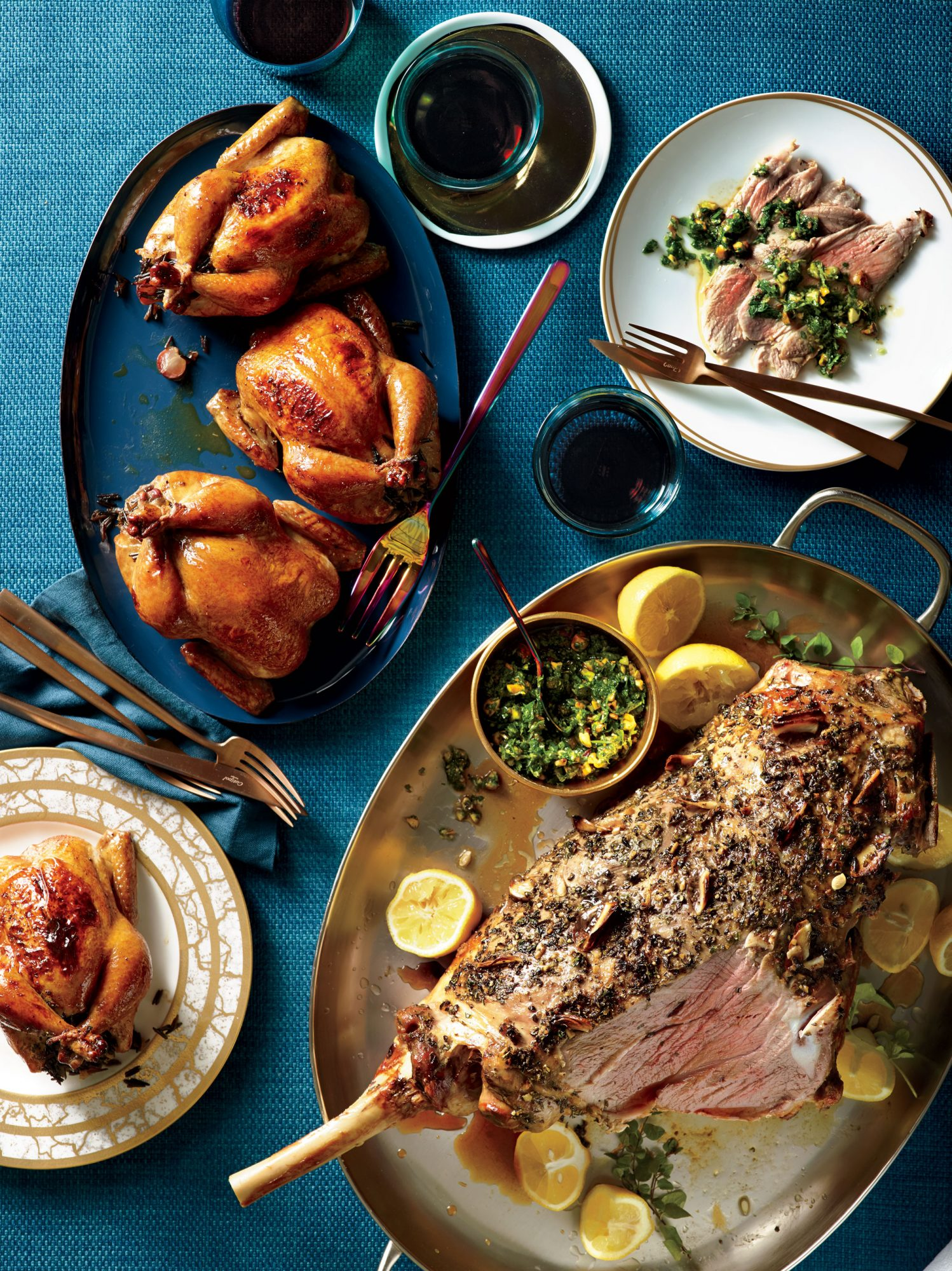 Garlicky Roasted Lamb with Parsley-Pistachio Gremolata