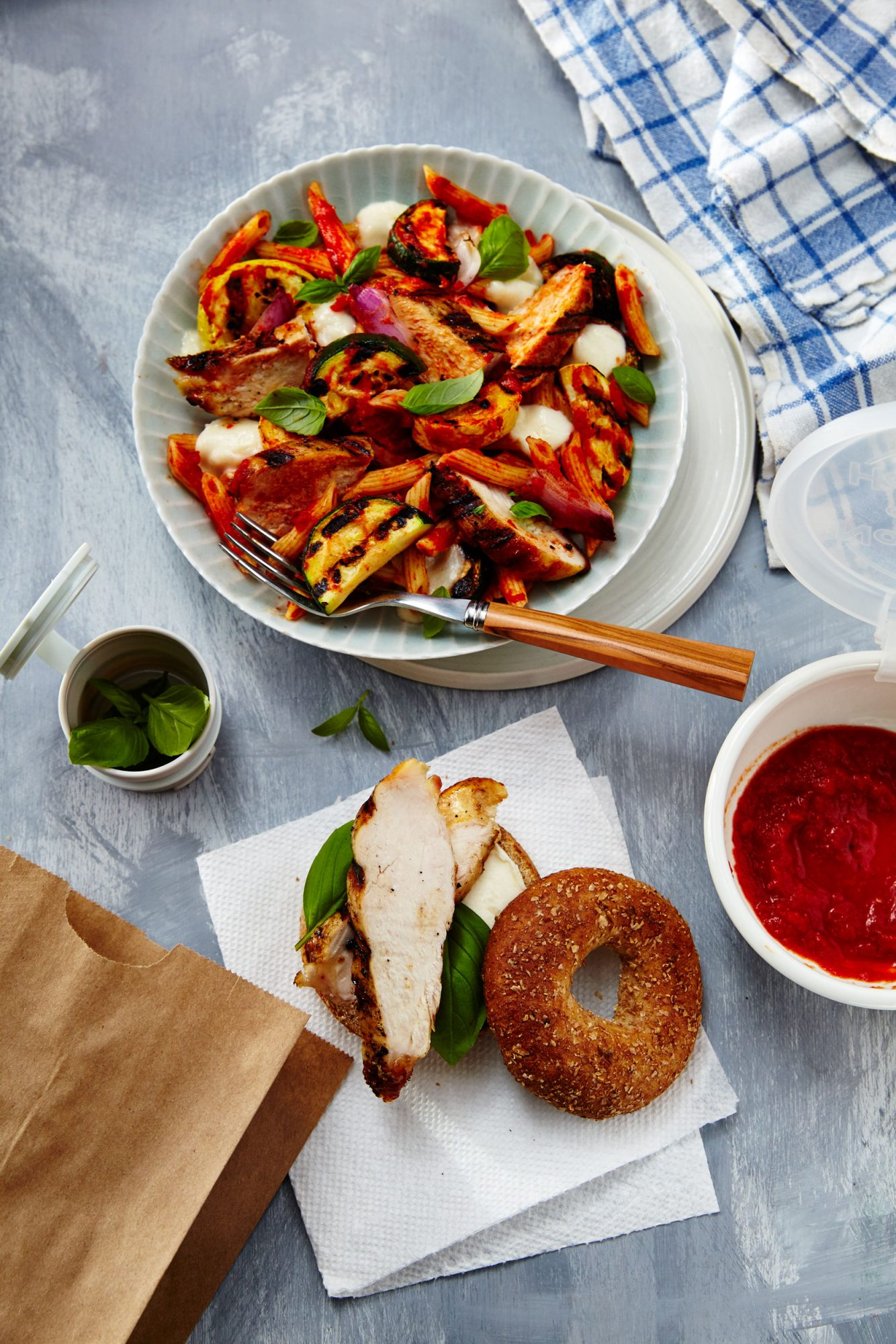 Caprese Chicken and Vegetables Penne/Grilled Chicken Pizza Bagel Stacks image