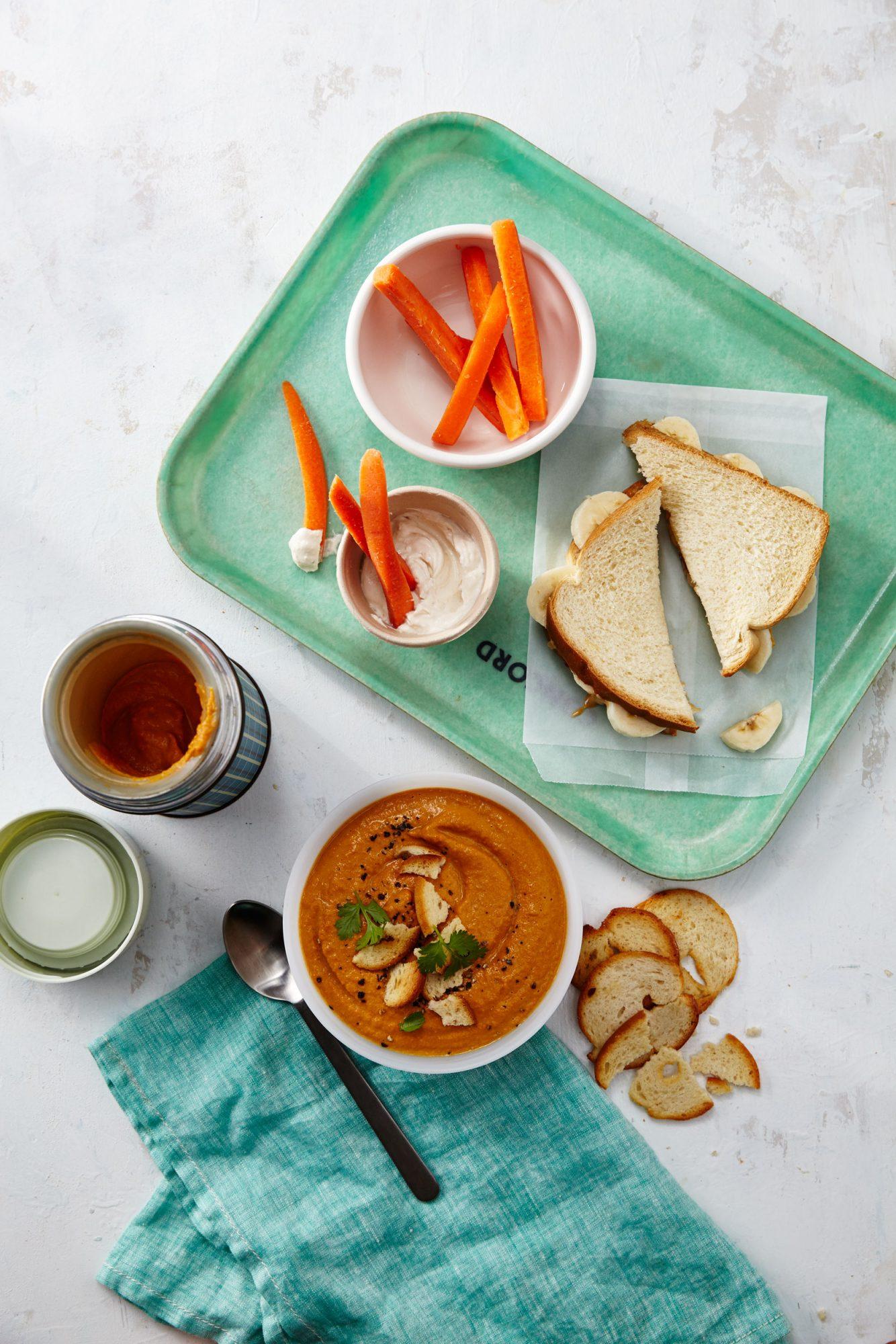 Gingered Carrot Cashew Soup/Cashew Butter Banana Sandwich image