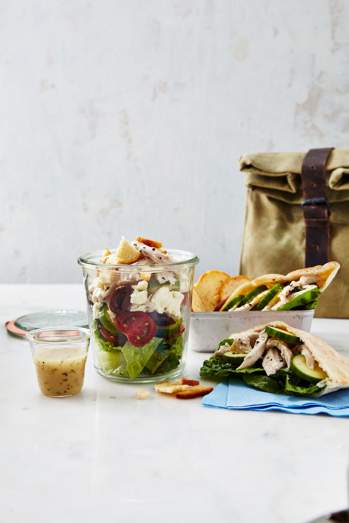 Greek Chicken Salad in a Jar/Chicken Salad Pita image