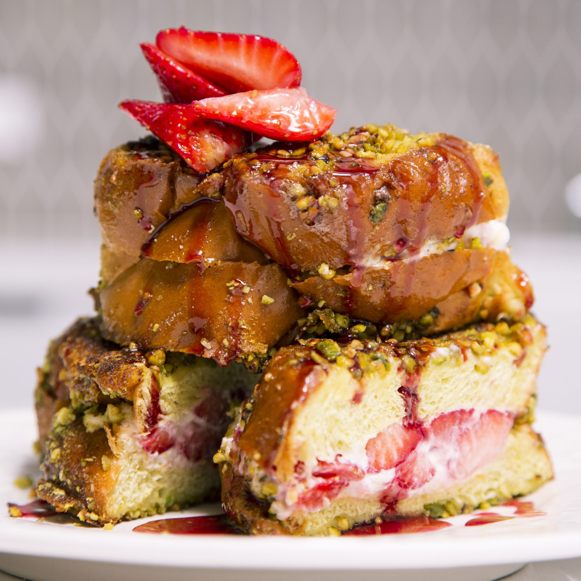 Pistachio-Crusted French Toast with Strawberry and Neufchatel Filling