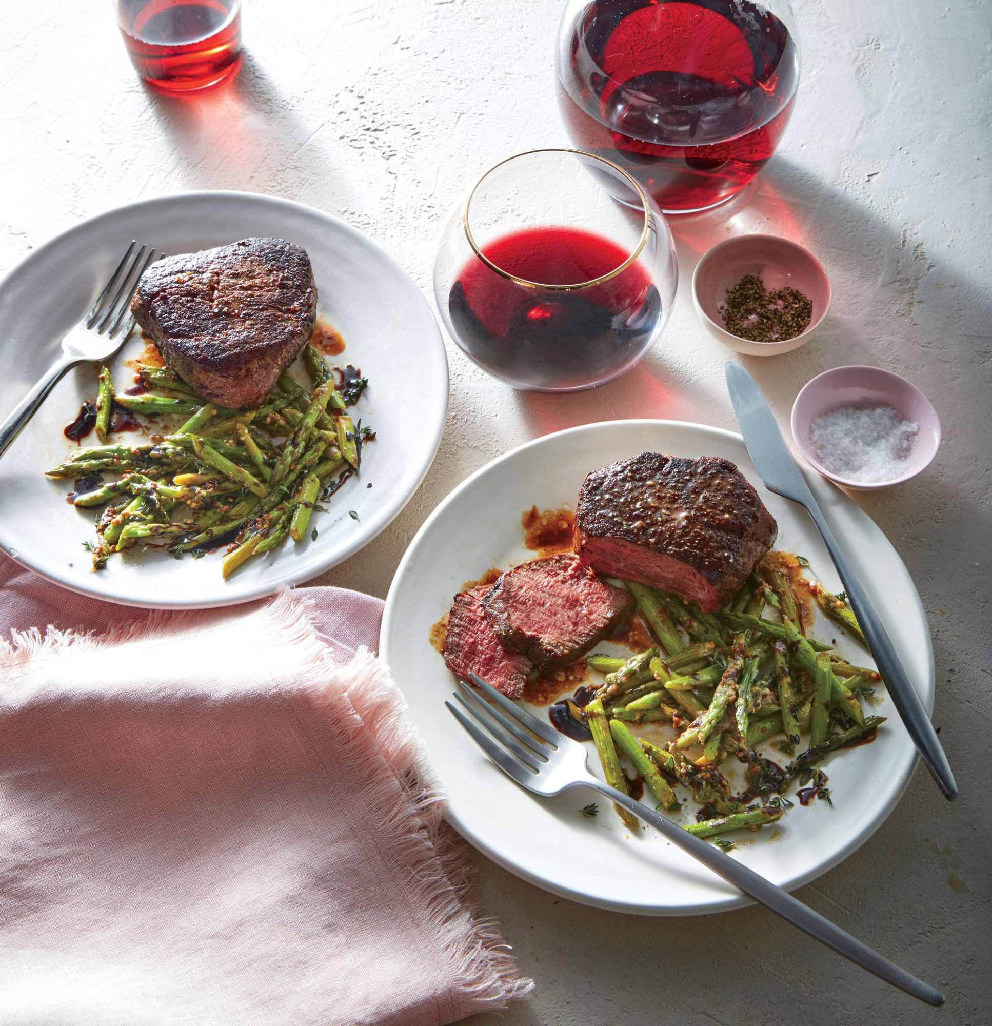 Beef tenderloin steaks are often considered a special-occasion cut, but when they go on sale (or you're ready for a splurge), this classic preparation is foolproof. Our pro tip: use a timer rather than turning, prodding, or overcooking the steaks, and set the timer again while they rest so you don't slice too soon. These steaks are ready in minutes, leaving time for you to fully enjoy them.