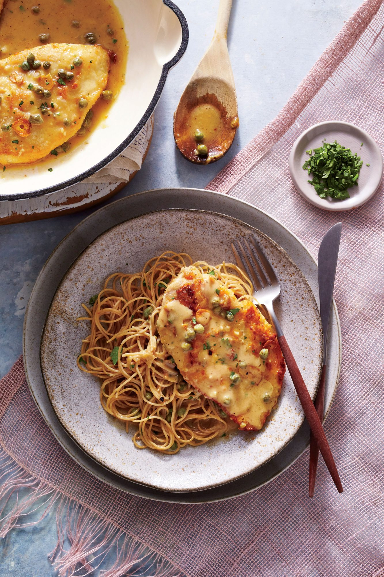 Chicken Piccata with Crispy Garlic