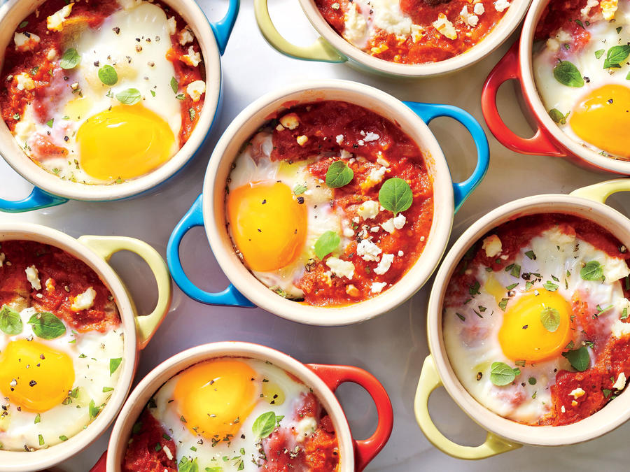 Shirred Eggs with Marinara and Feta