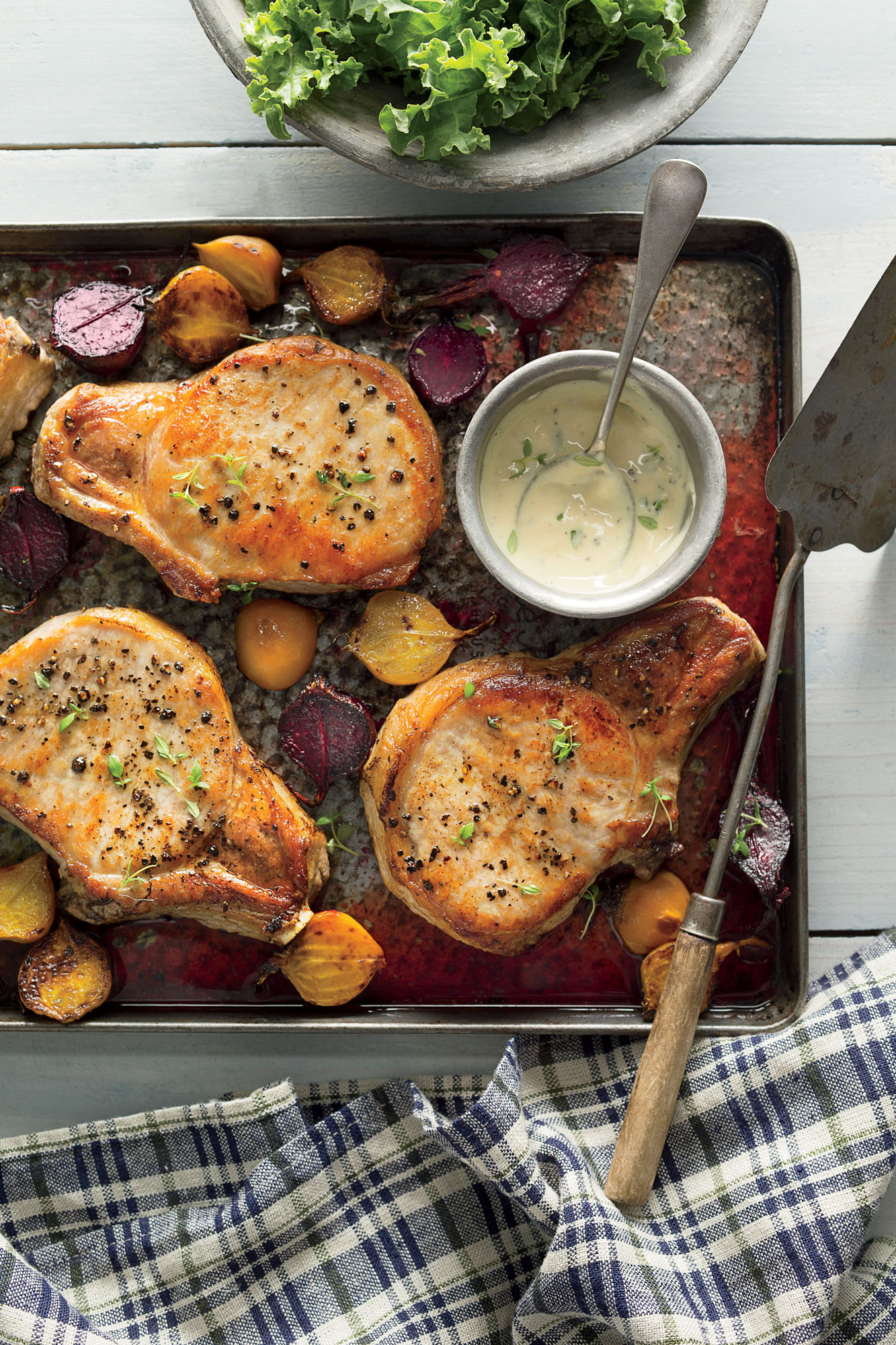 Roasted Pork Chops with Beets and Kale image