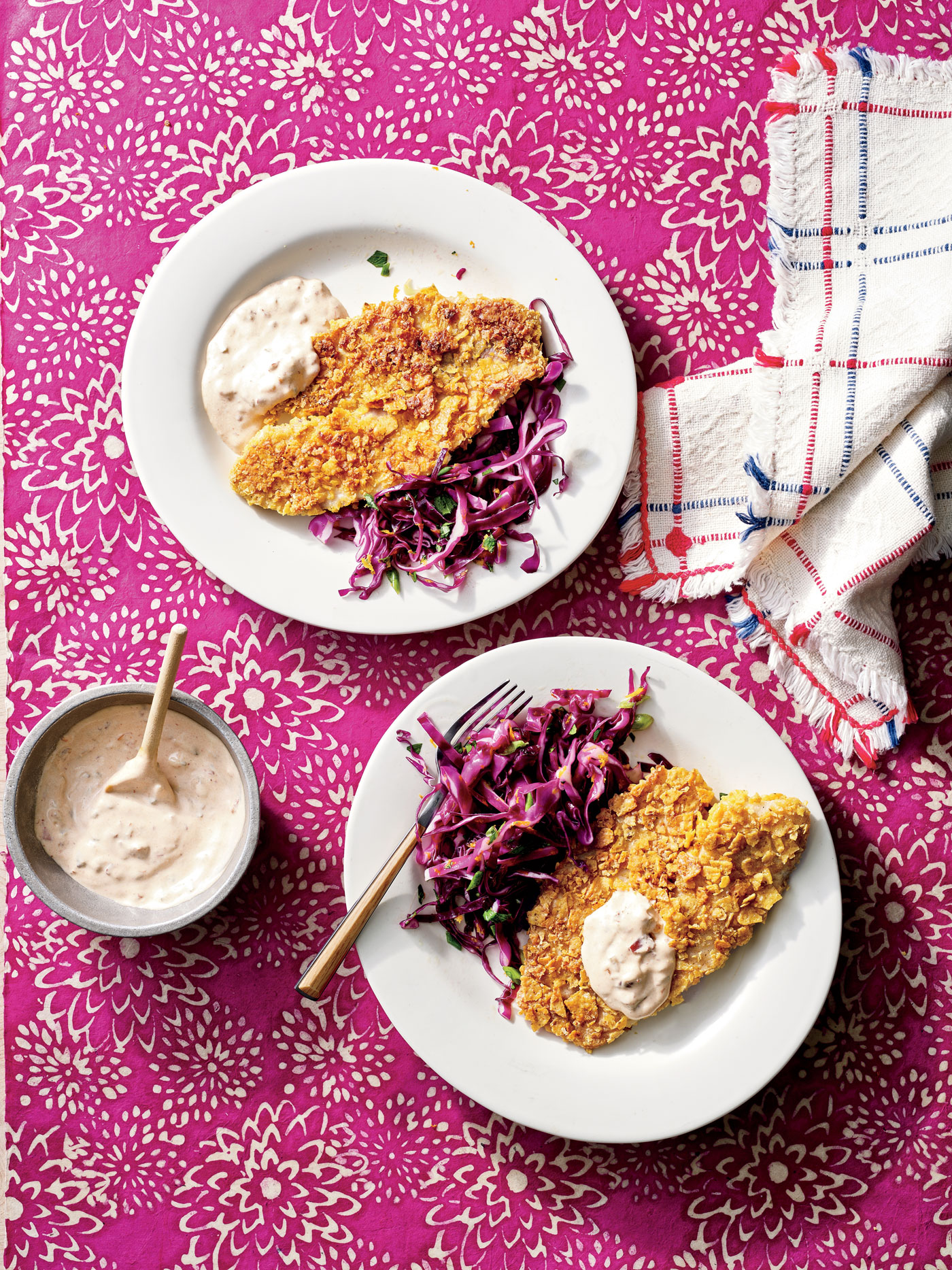 Tortilla-Crusted Tilapia with Citrus Slaw and Chipotle Tartar Sauce image