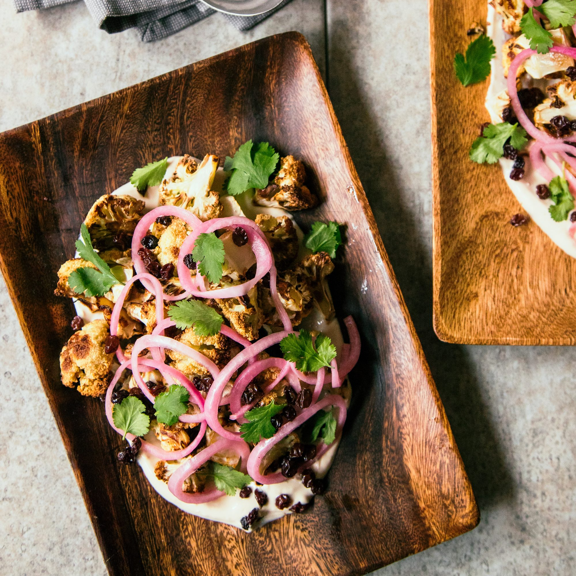 Roasted Cauliflower with Pickled Onion and Yogurt Sauce