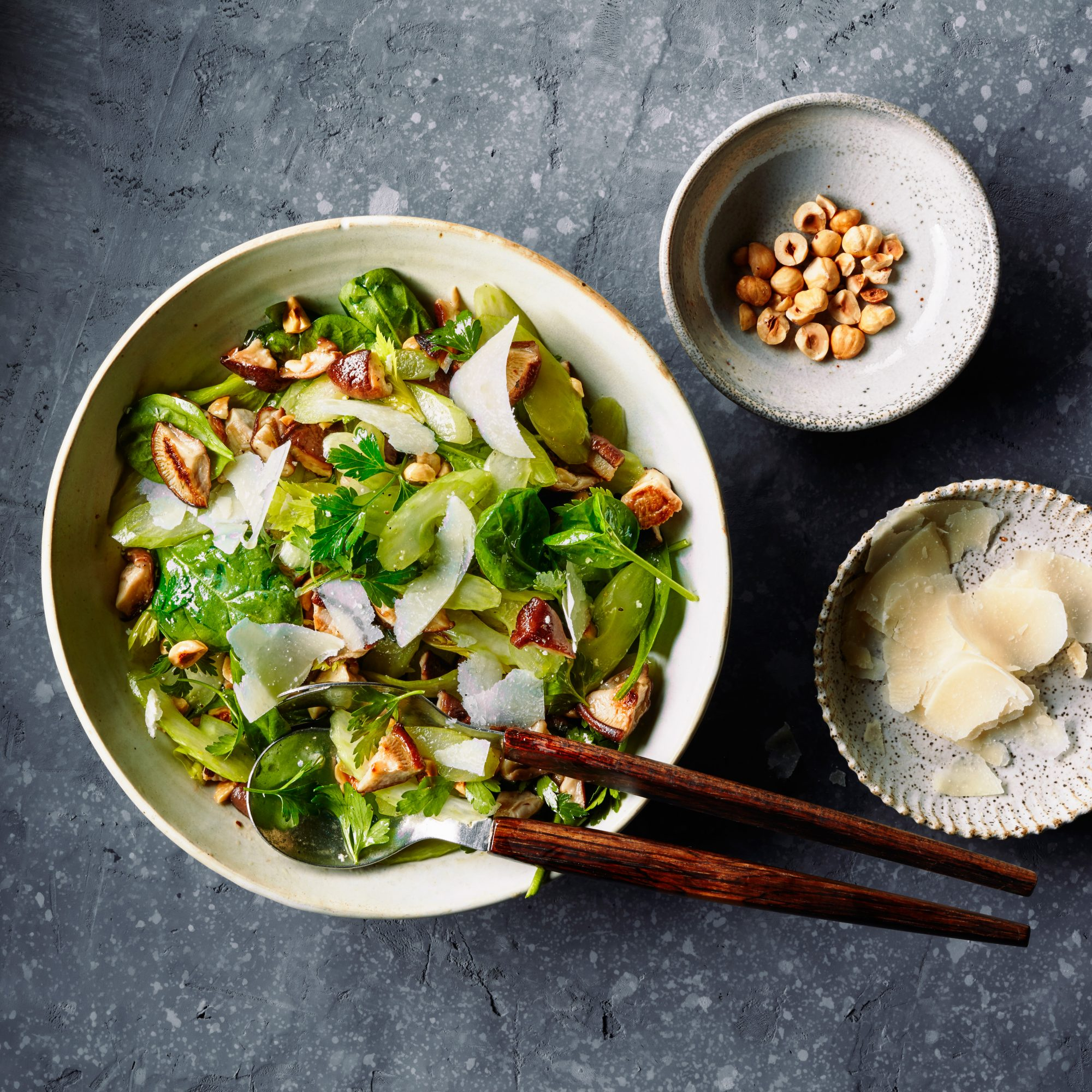 Warm Shiitake and Celery Salad
