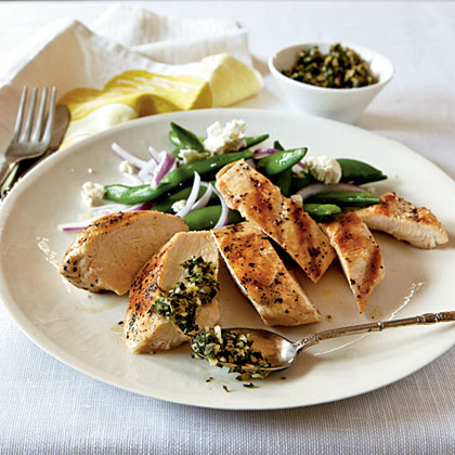 <p>Grilled Chicken with Mint and Pine Nut Gremolata</p>