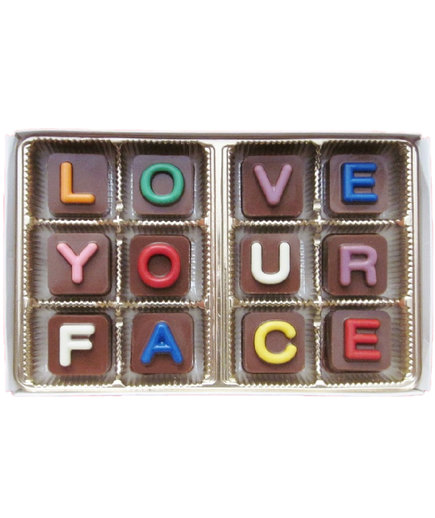 I Love Your Face Jelly Bean Chocolate Cube Letters