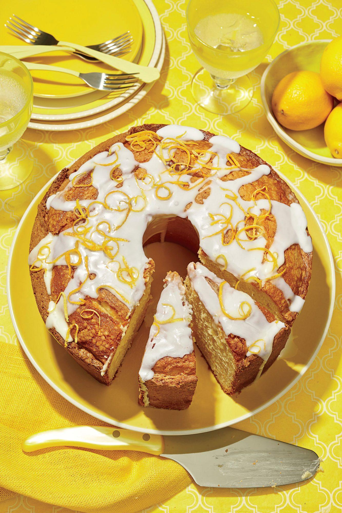 Lemon-Vanilla Pound Cake with Lavender Glaze image