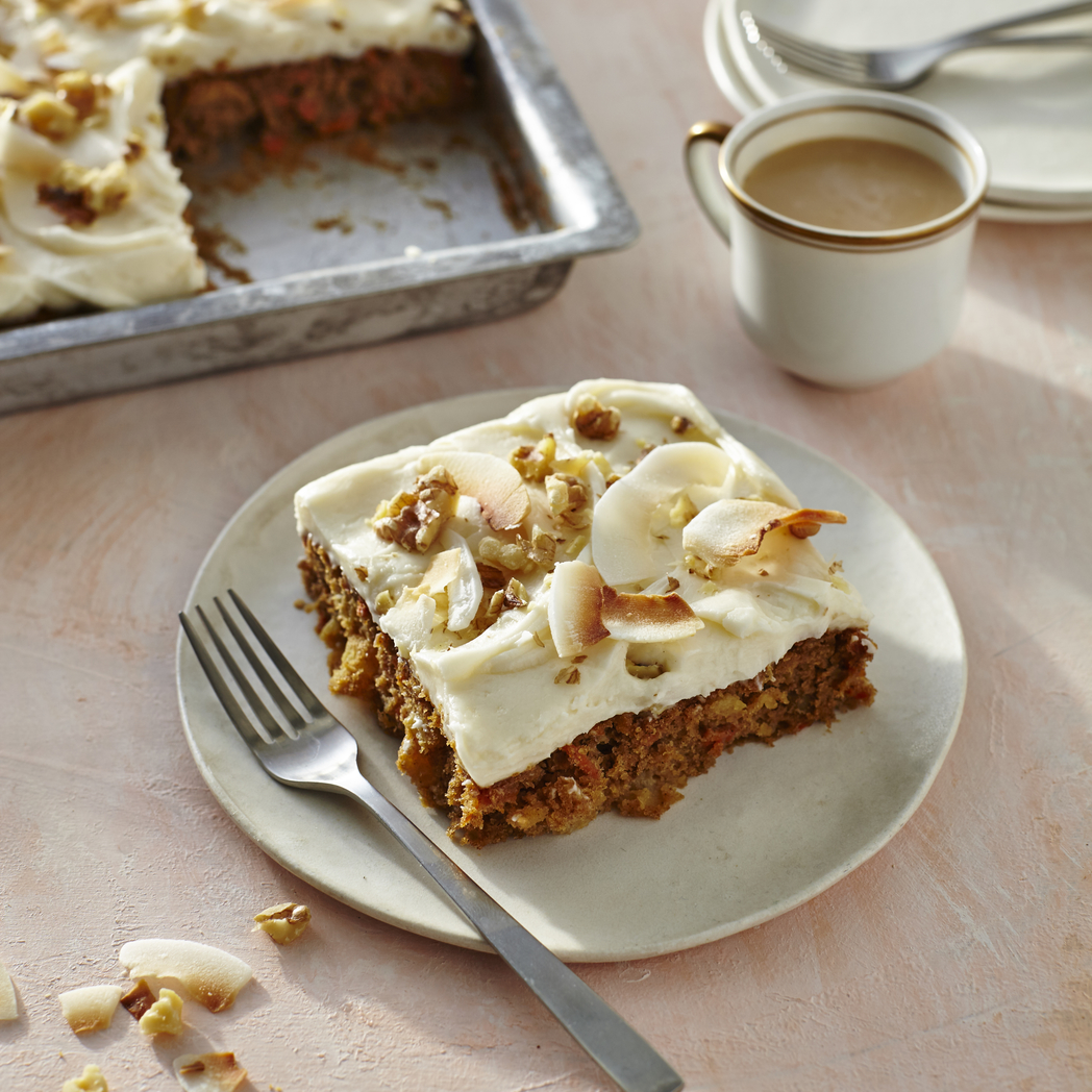 Carrot-Walnut-Coconut Sheet Cake image