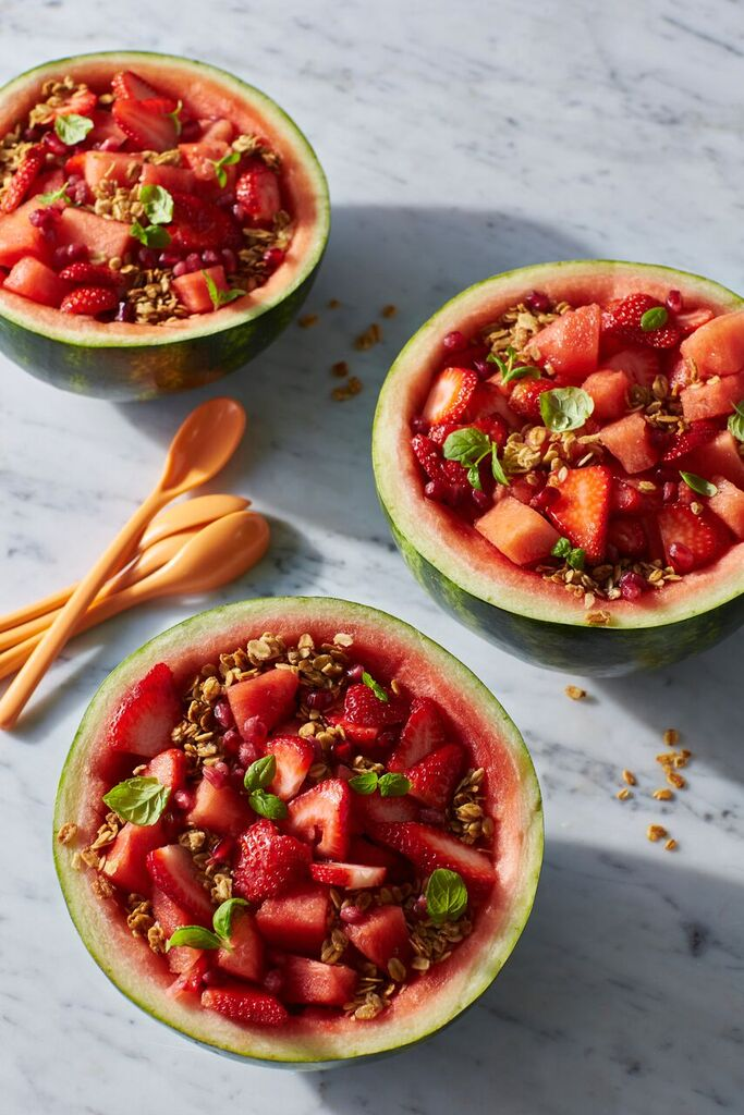 Watermelon-Strawberry-Granola Breakfast Bowls