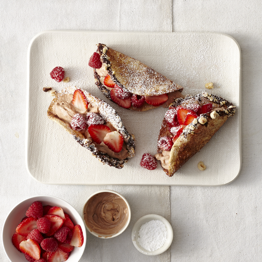 Nutella and Red Berry Dessert Tacos