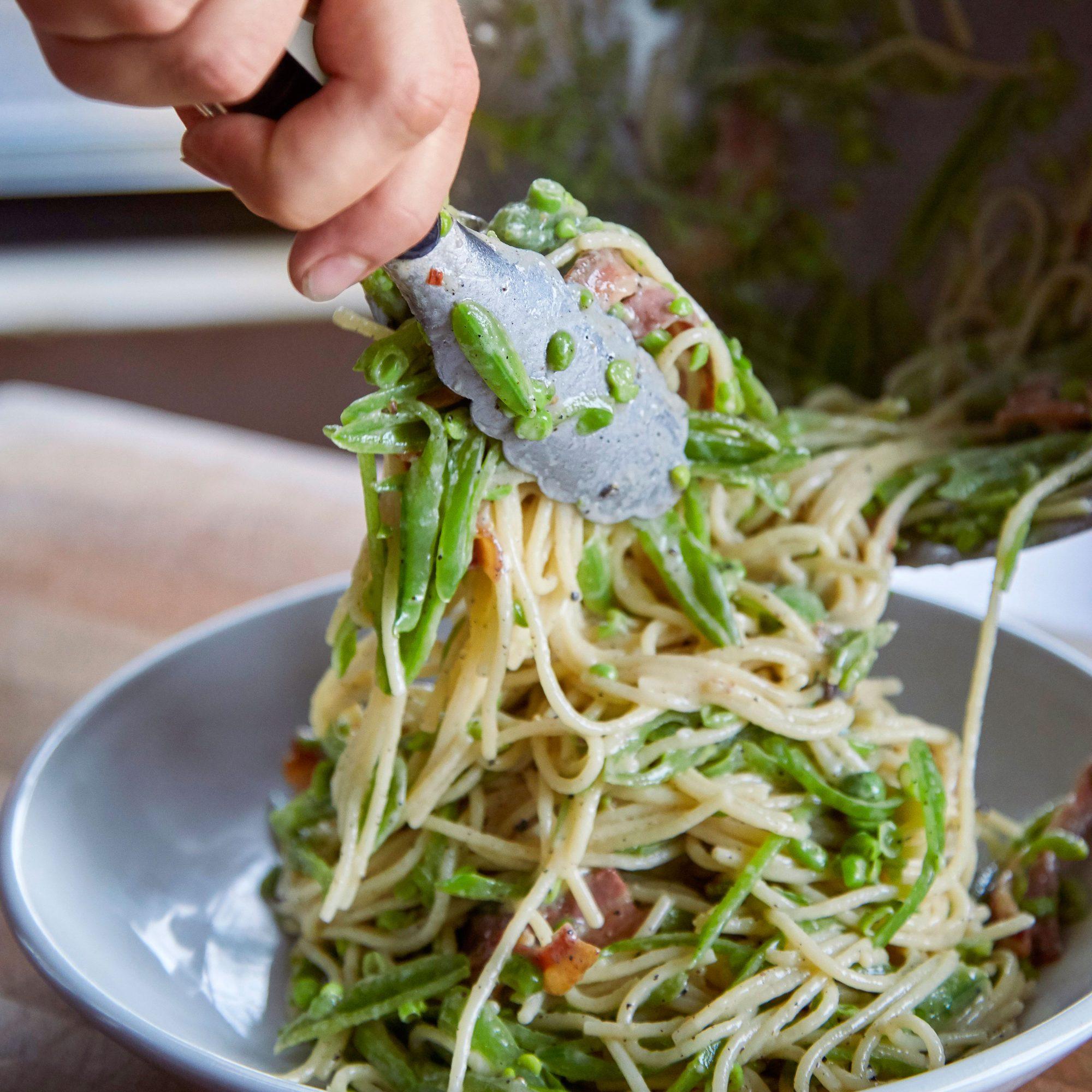 Pasta alla Gricia with Slivered Sugar Snap Peas