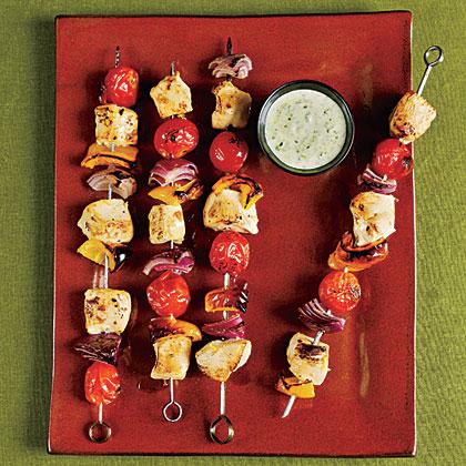 <p>Chicken Kebabs with Creamy Pesto</p>