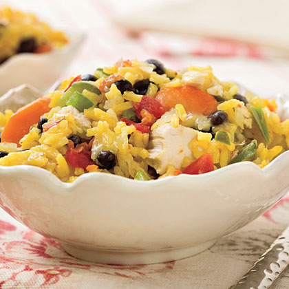 Online reviewers rave about this recipe as an easy weeknight dish. Because it's brimming with veggies in addition to the rice, chicken, beans and cheese, it really is a one-dish meal.Chicken and Rice With Black Beans