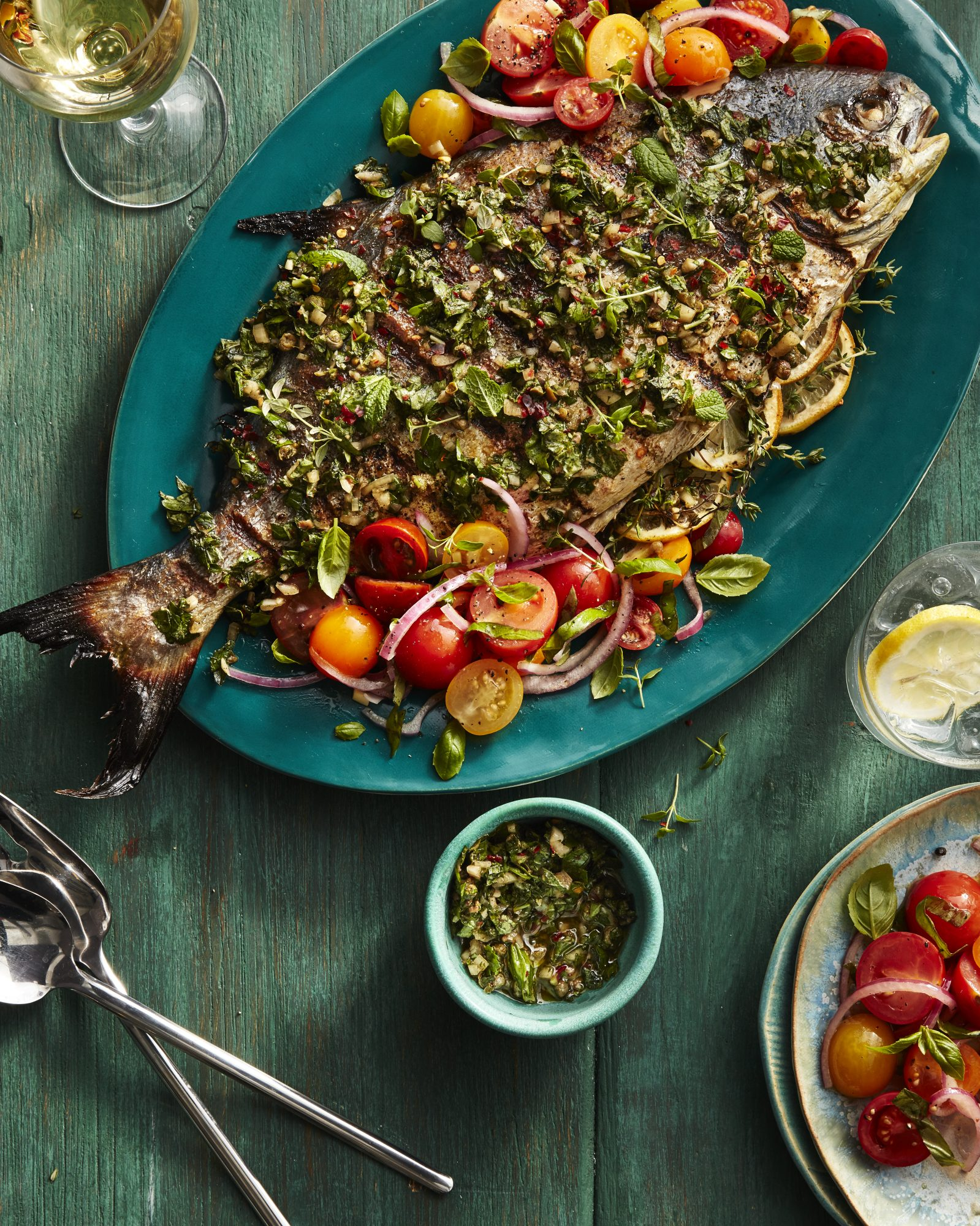Grilled Pompano With Salsa Verde And Marinated Cherry Tomatoes