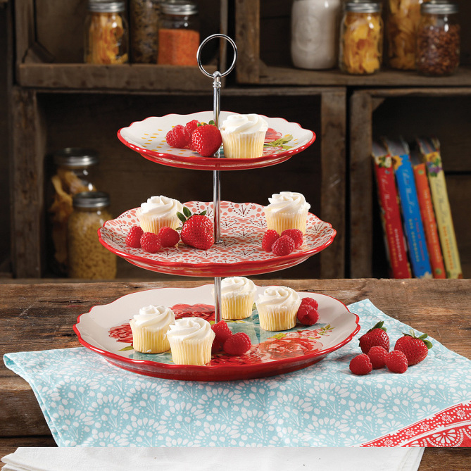 Pioneer Woman Blossom Jubilee 3-Tier Serving Tray image