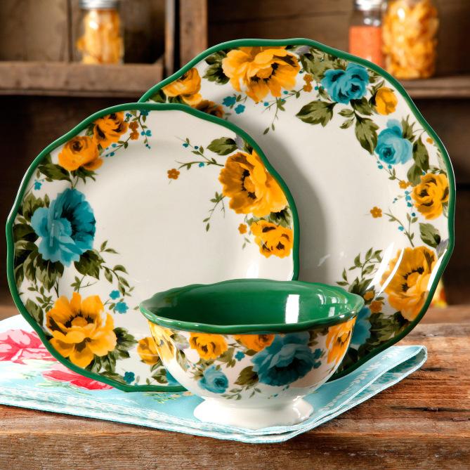 Pioneer Woman Rose Shadow 12-Piece Dinnerware Set image