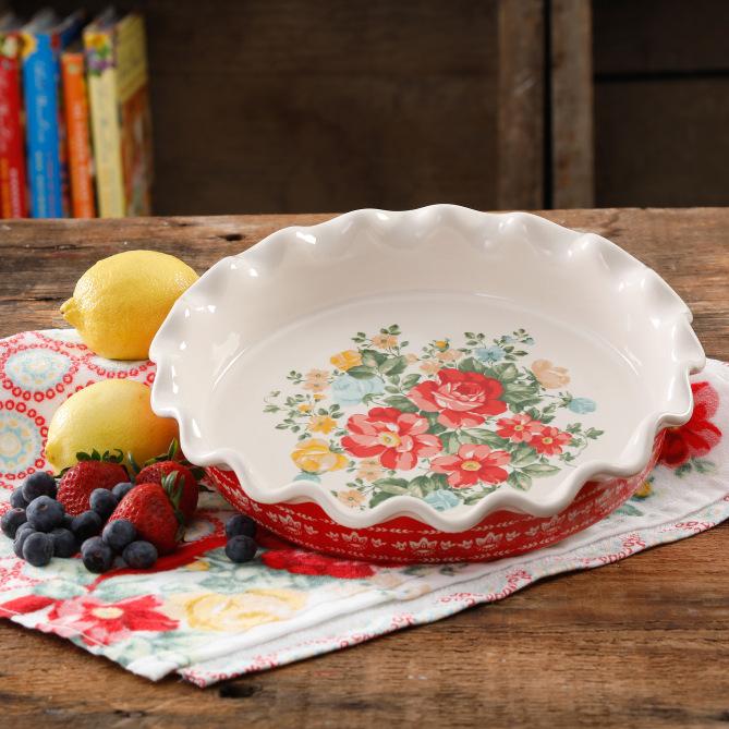 Pioneer Woman Vintage Floral 9  Pie Plate image