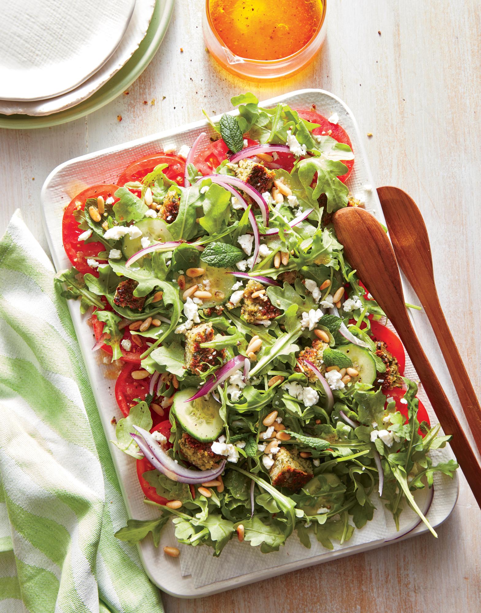 Falafel, Feta, and Tomato Salad
