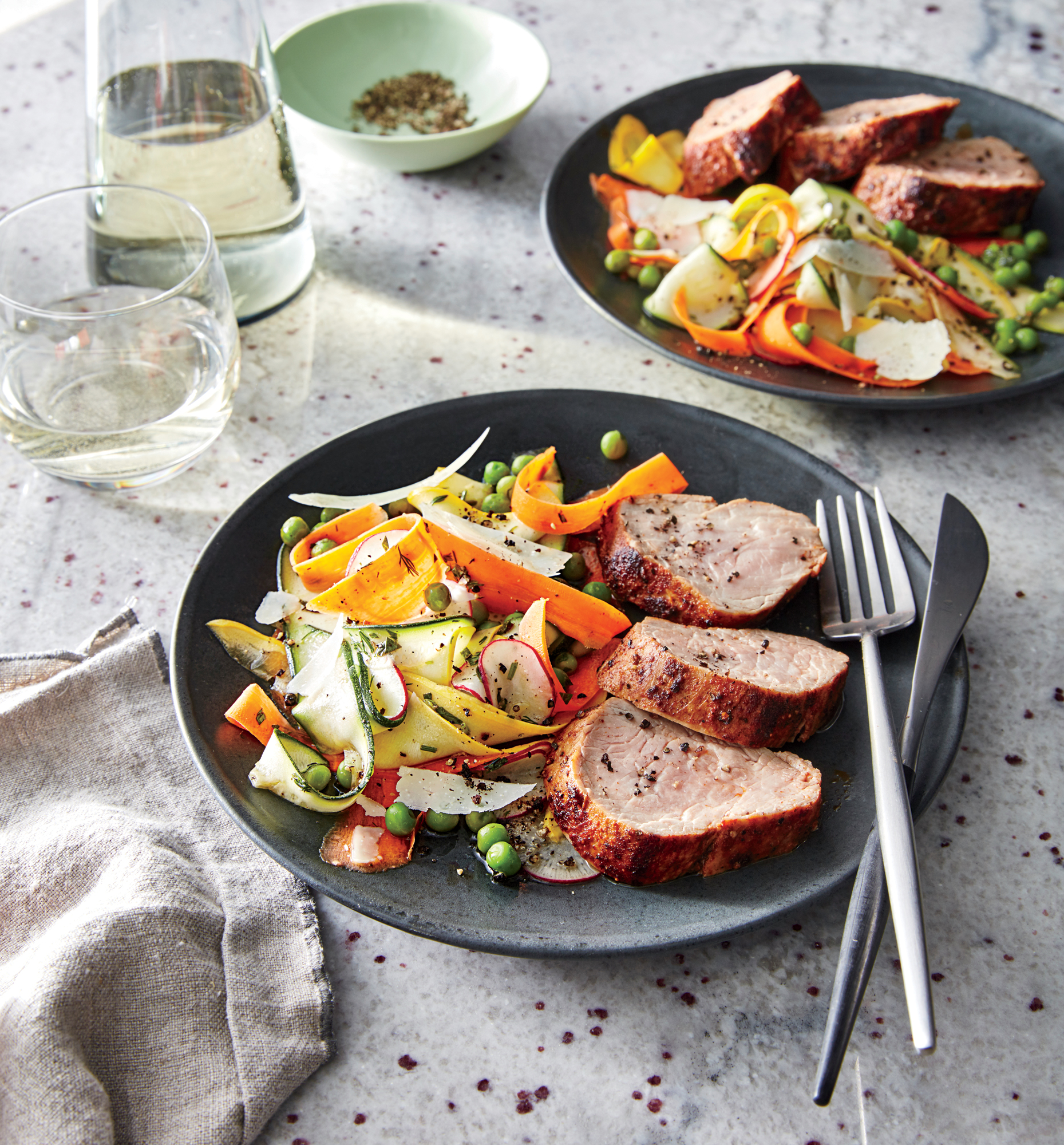 Pan-Roasted Pork with Baby Vegetable Salad